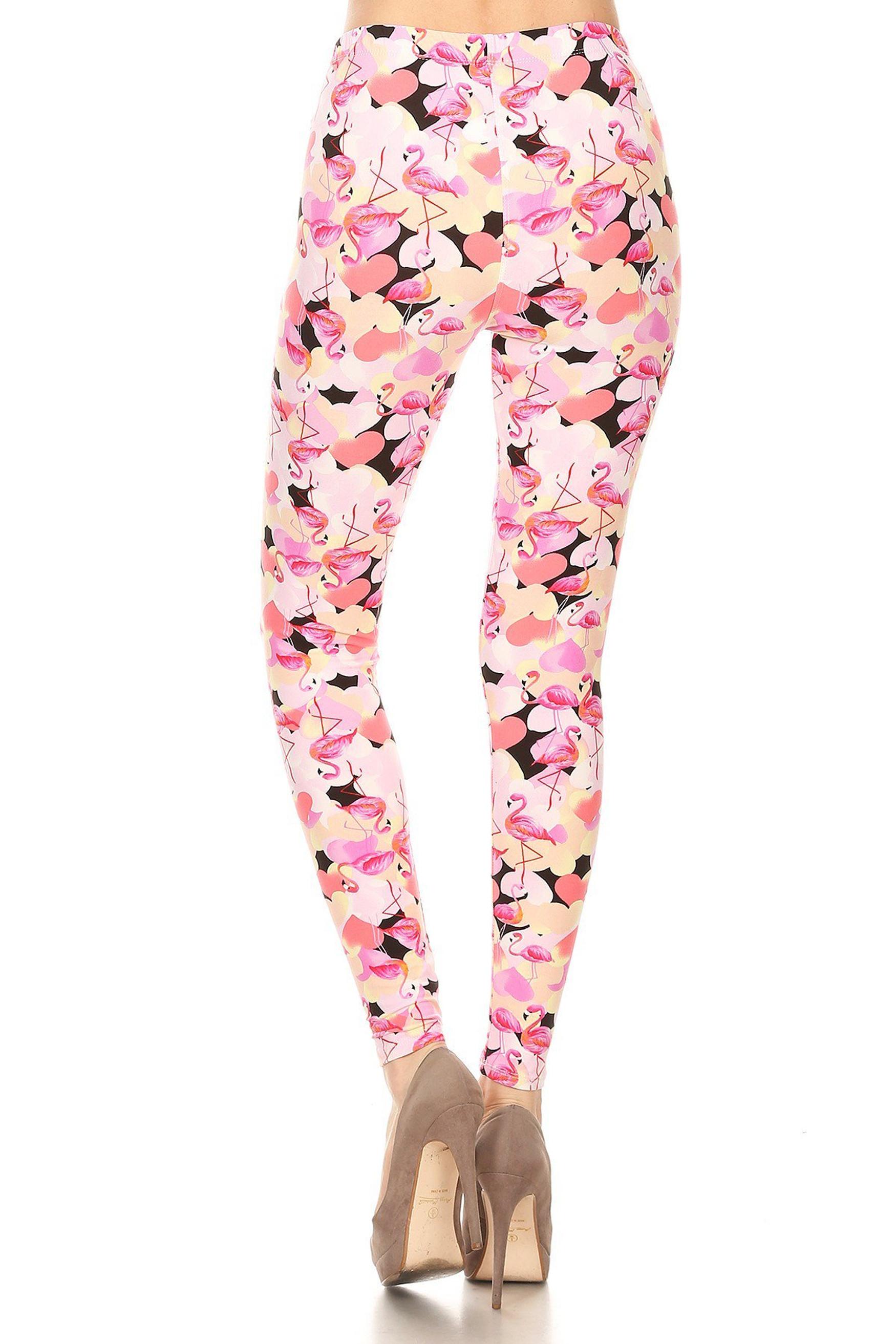 Back of Soft Brushed Gorgeous Pink Flamingos Plus Size Leggings - 3X-5X