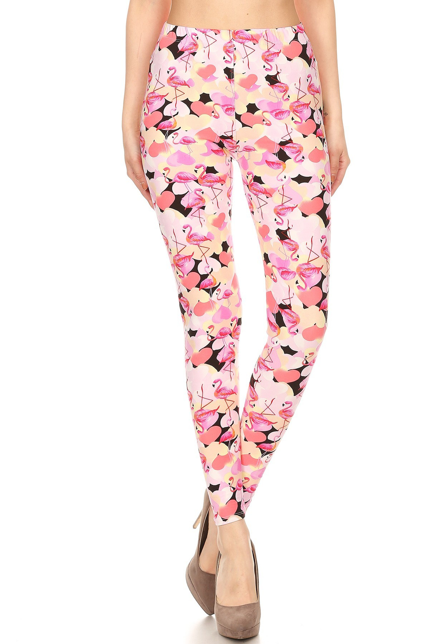Front of Soft Brushed Gorgeous Pink Flamingos Plus Size Leggings - 3X-5X