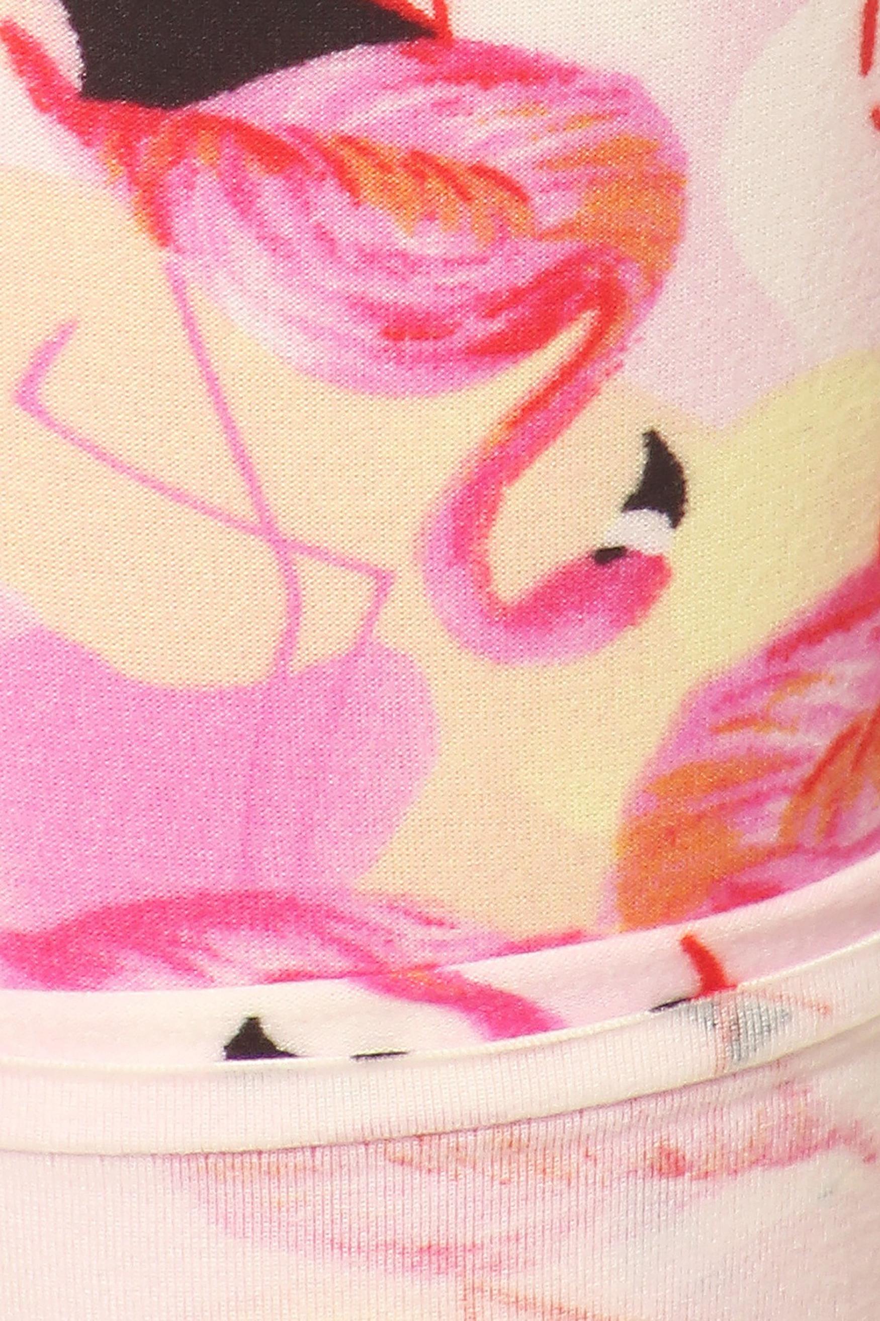 Close up of Soft Brushed Gorgeous Pink Flamingos Plus Size Leggings - 3X-5X