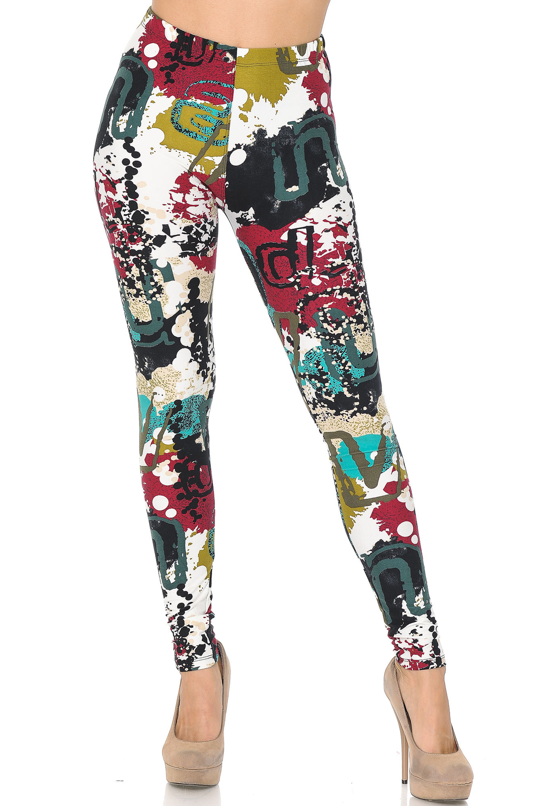 Soft Brushed Summer Picasso High Waisted Plus Size Leggings - 3X - 5X