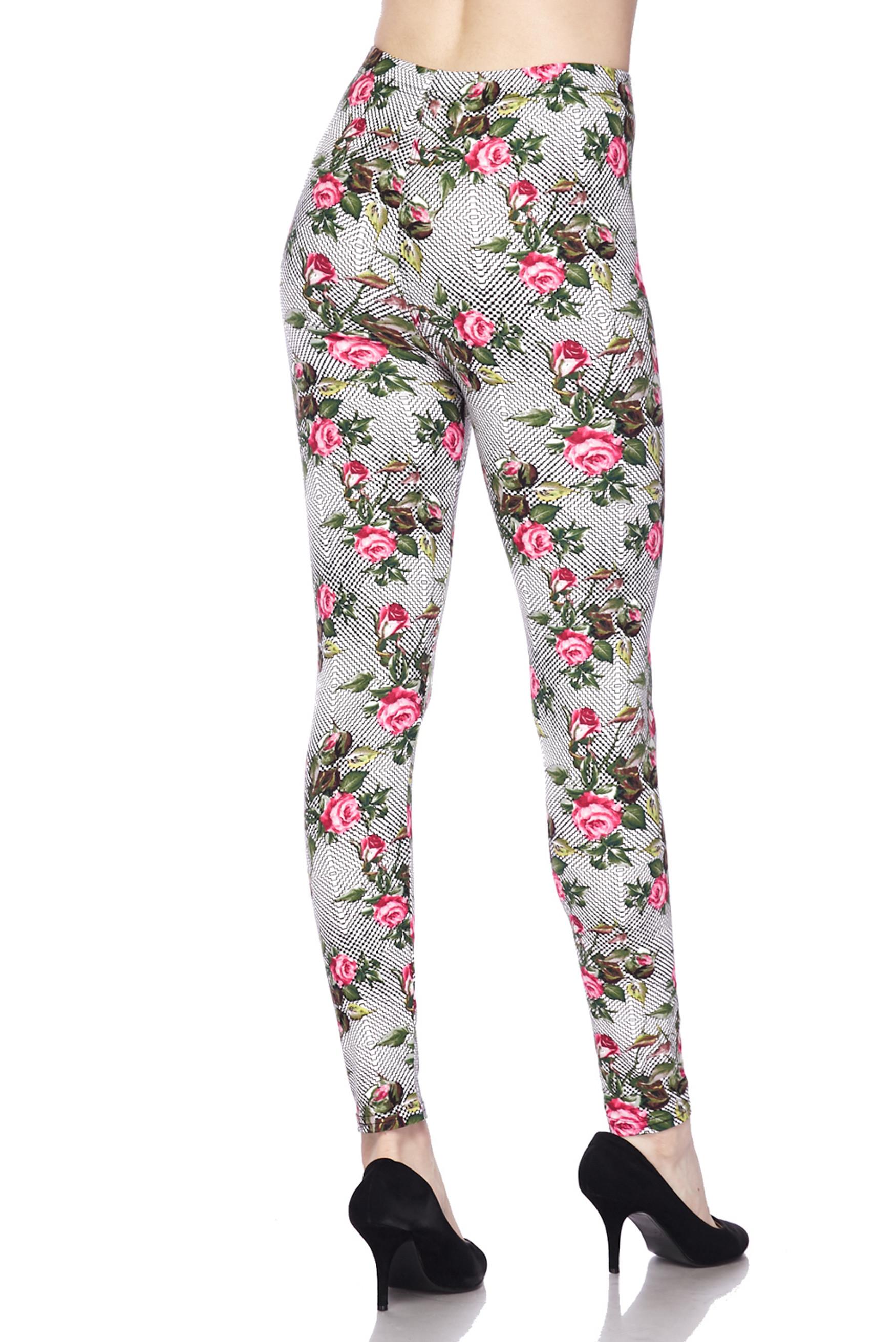 Soft Brushed Floral Rose Mirage Extra Plus Size Leggings - 3X-5X