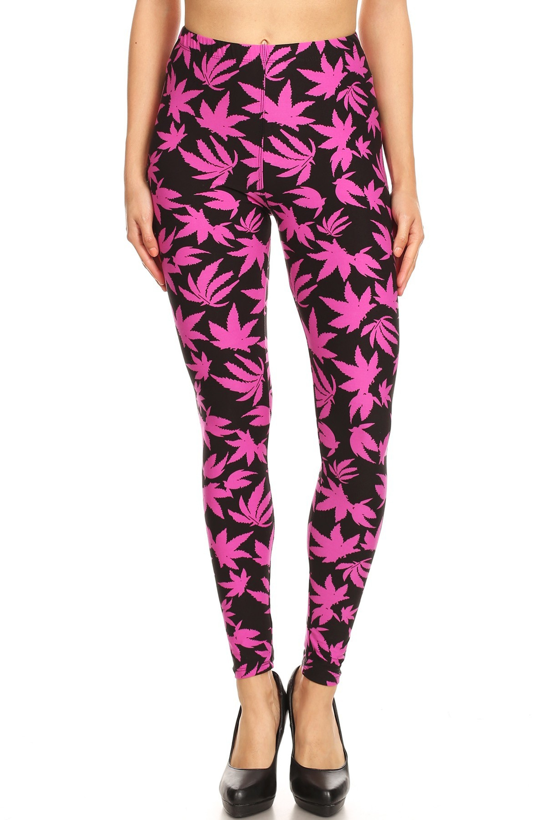 Soft Brushed Solid Fuchsia Marijuana Plus Size Leggings