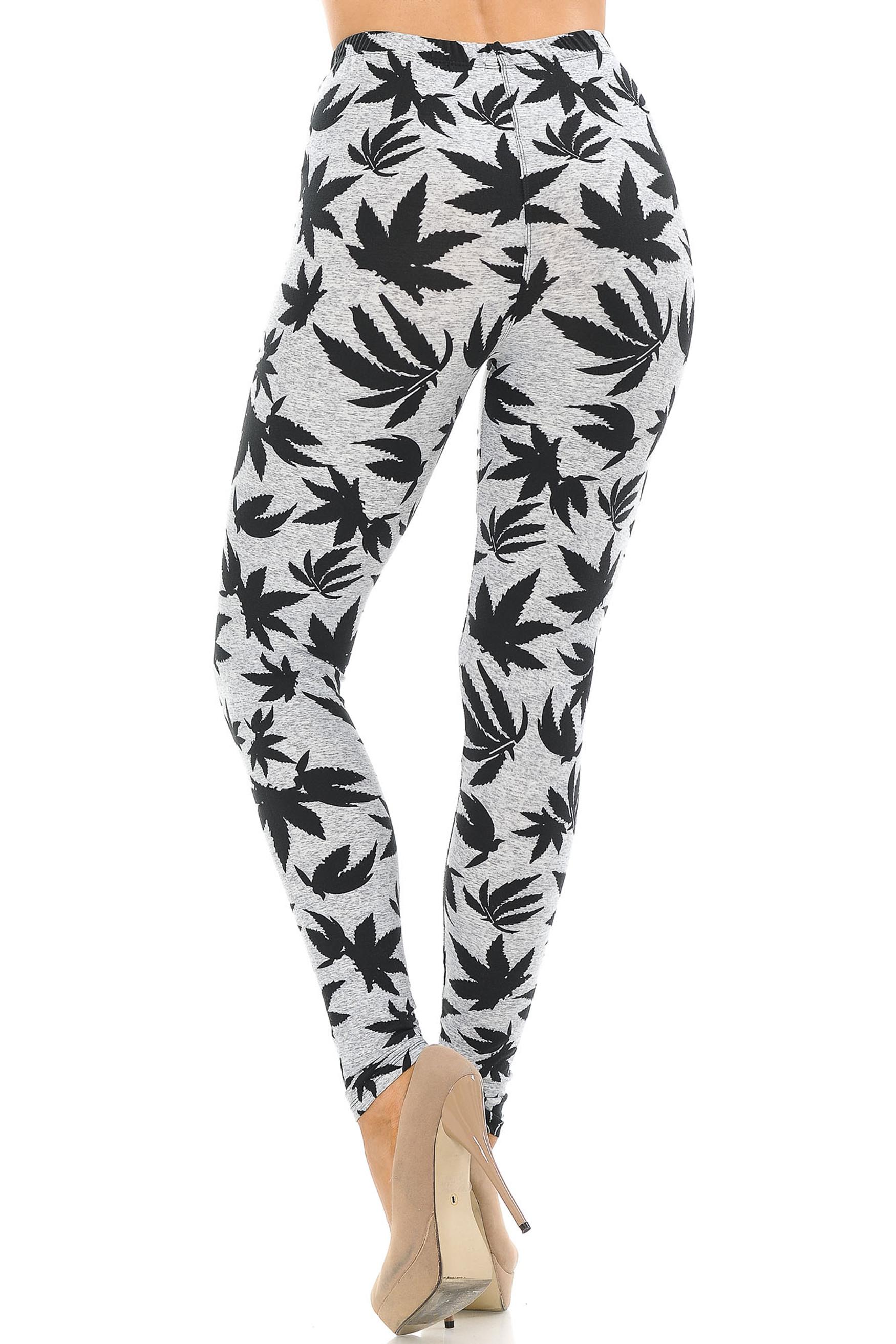 Soft Brushed Solid Heather Grey Marijuana Extra Plus Size Leggings - 3X-5X