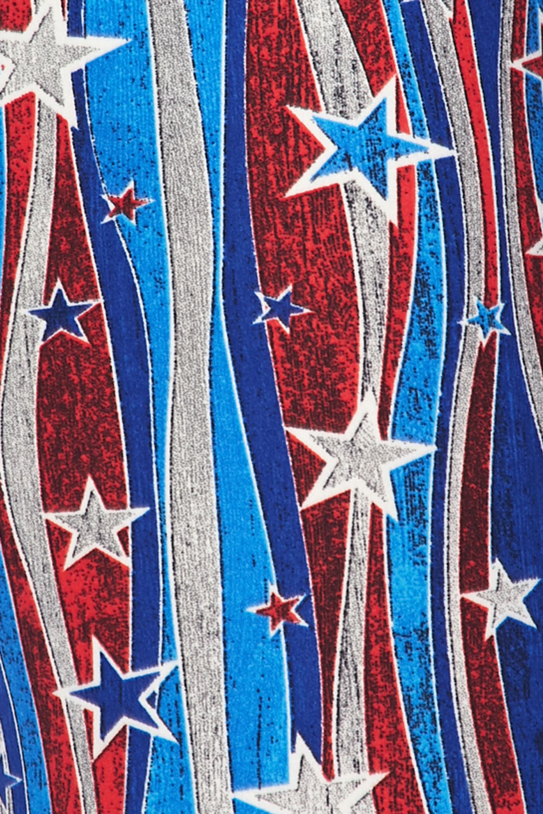 Soft Brushed Metallic USA Flag Kids Leggings