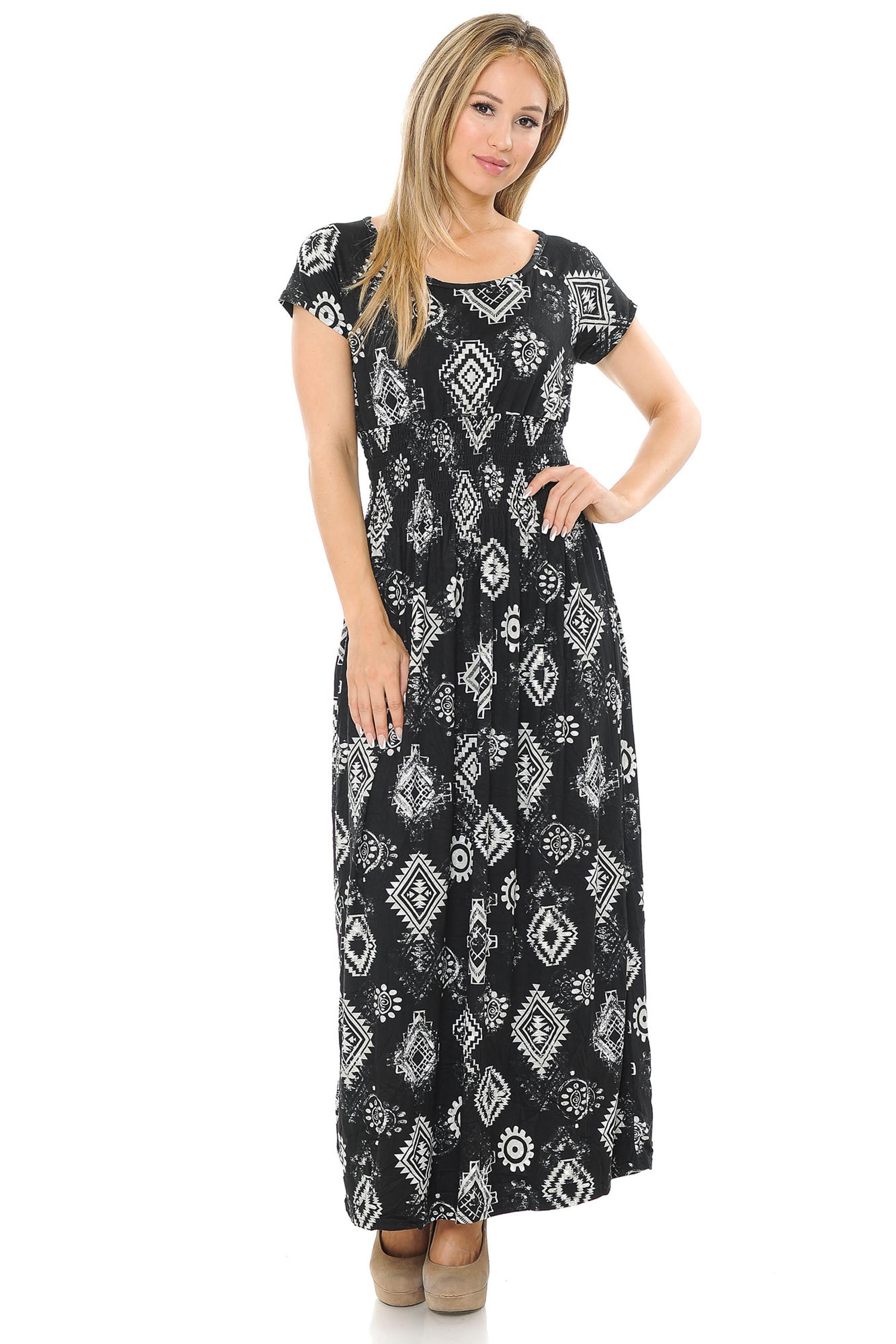 Soft Brushed Short Sleeve Regalia Tribal Maxi Dress