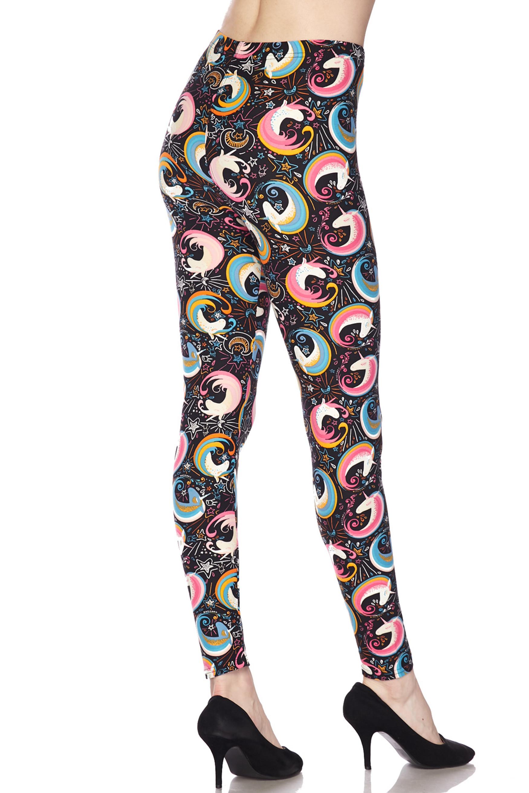 Soft Brushed Groovy Hip Unicorn Extra Plus Size Leggings - 3X-5X