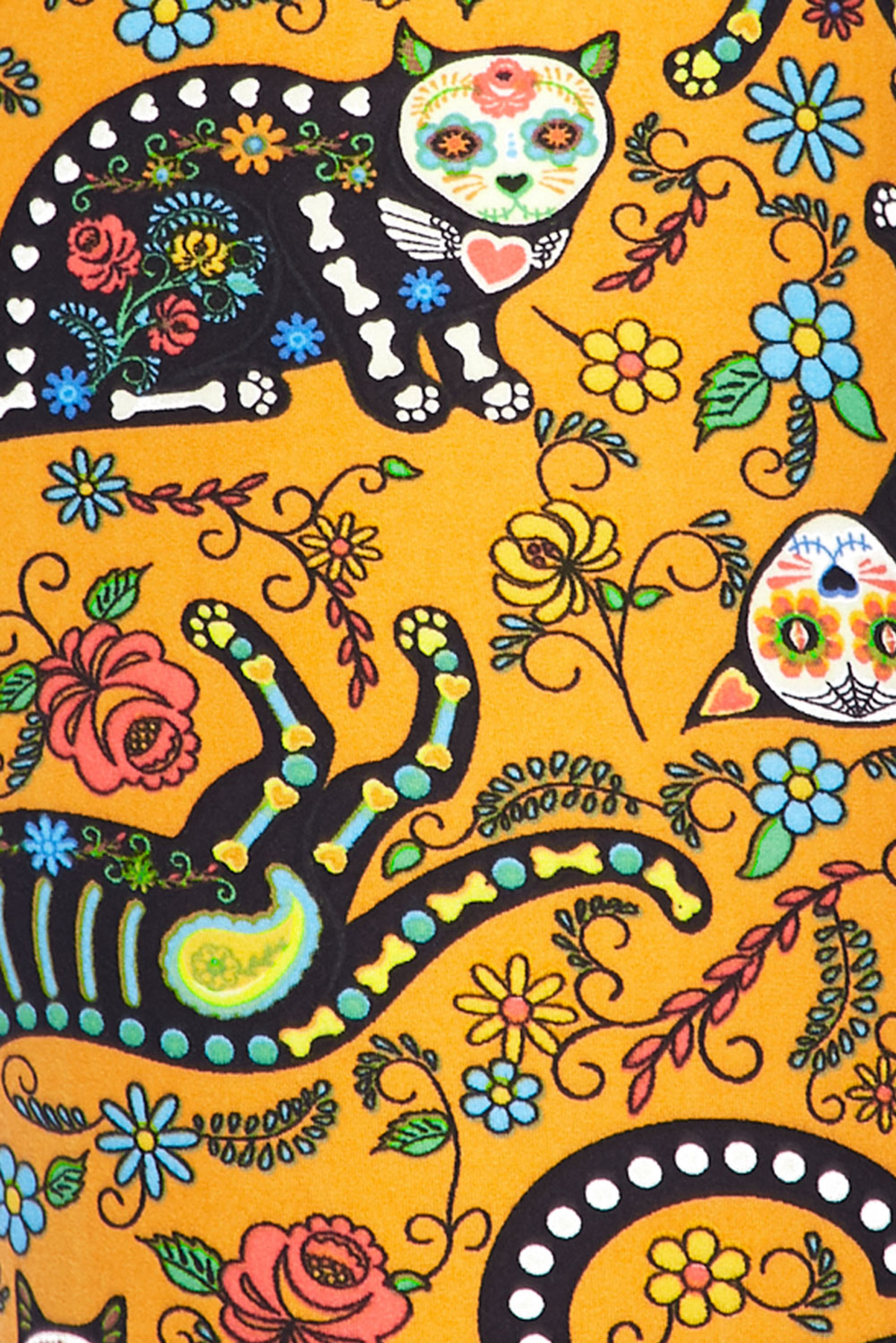 Soft Brushed Kitty Cat Mustard Sugar Skull Plus Size Leggings