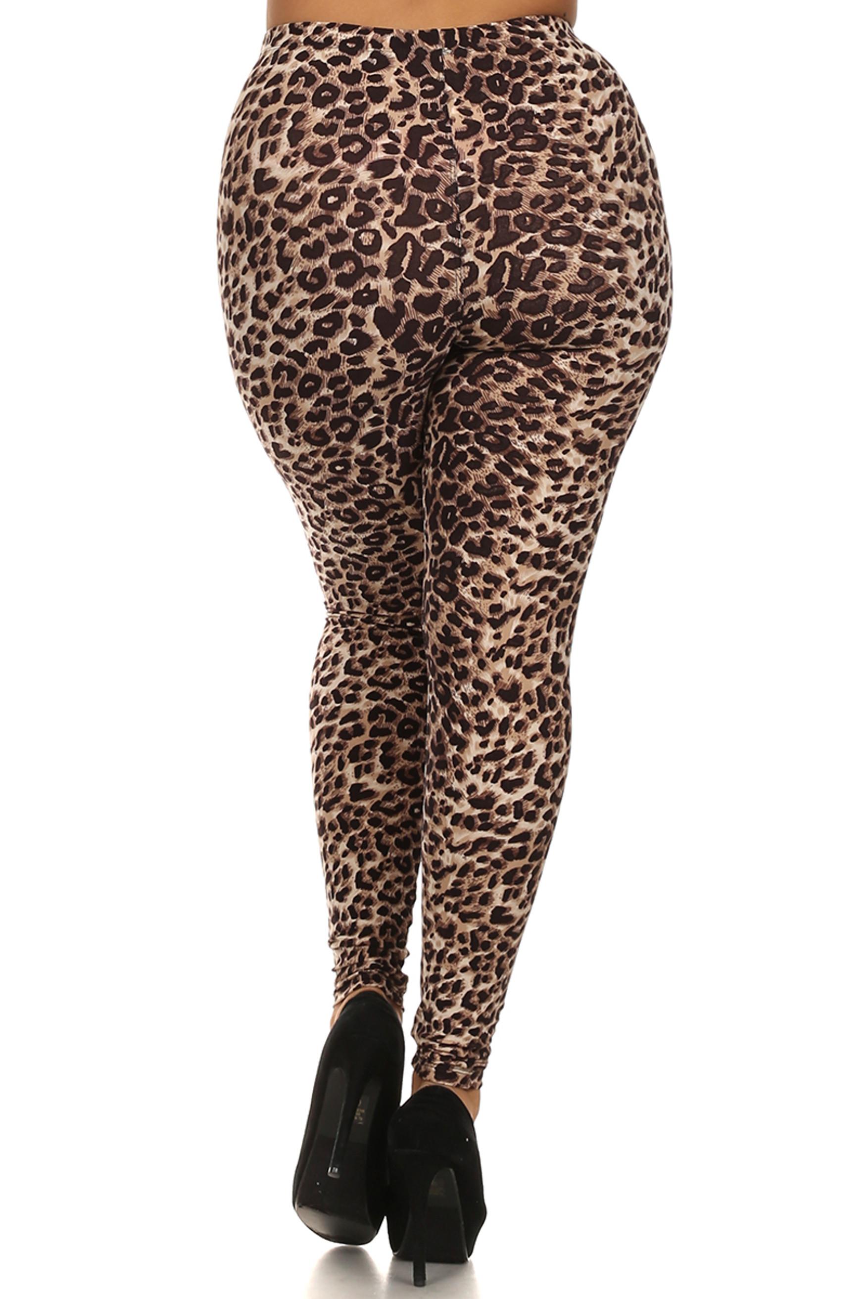 Back side image of Soft Brushed Feral Cheetah Plus Size Leggings