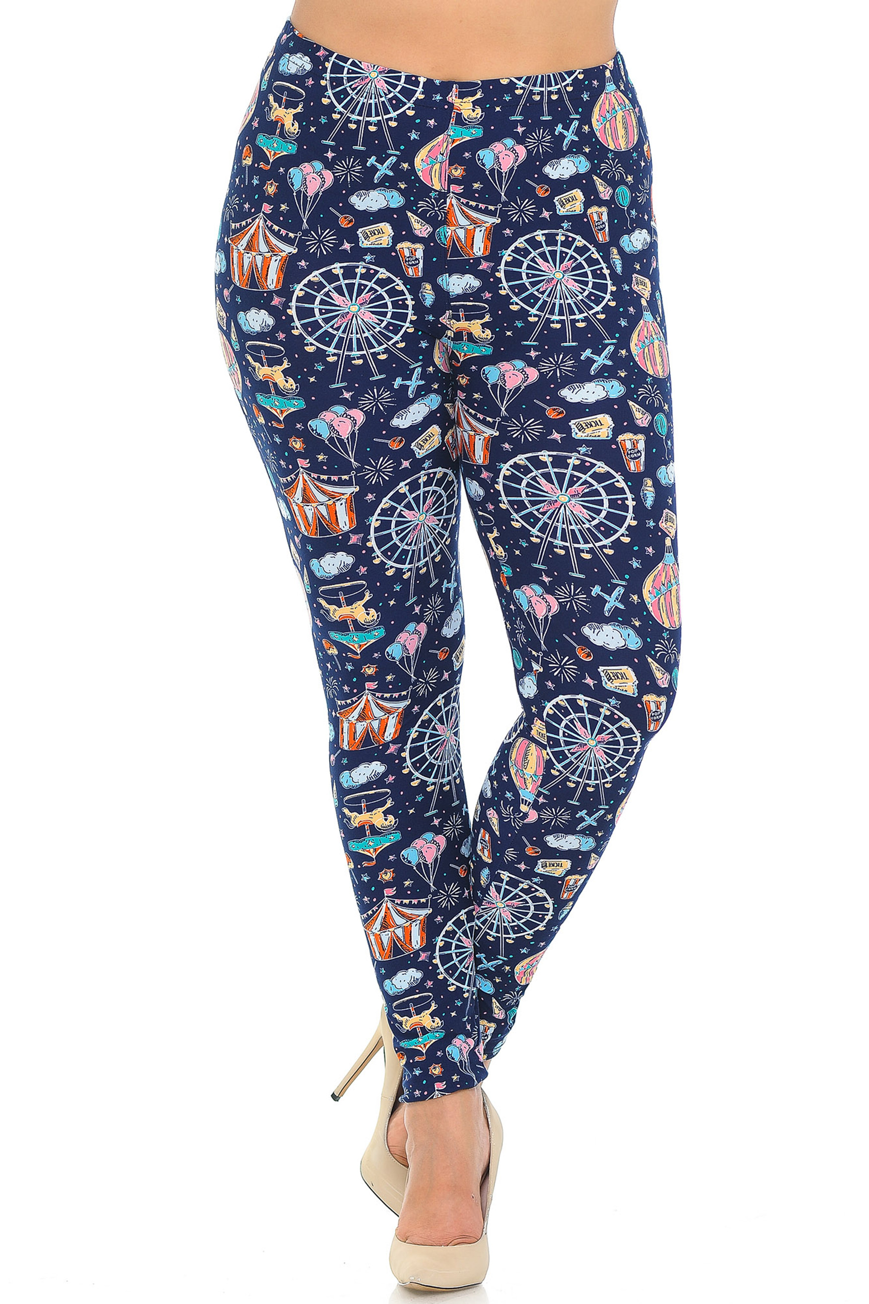 Soft Brushed Vintage Carnival Extra Plus Size Leggings - 3X-5X