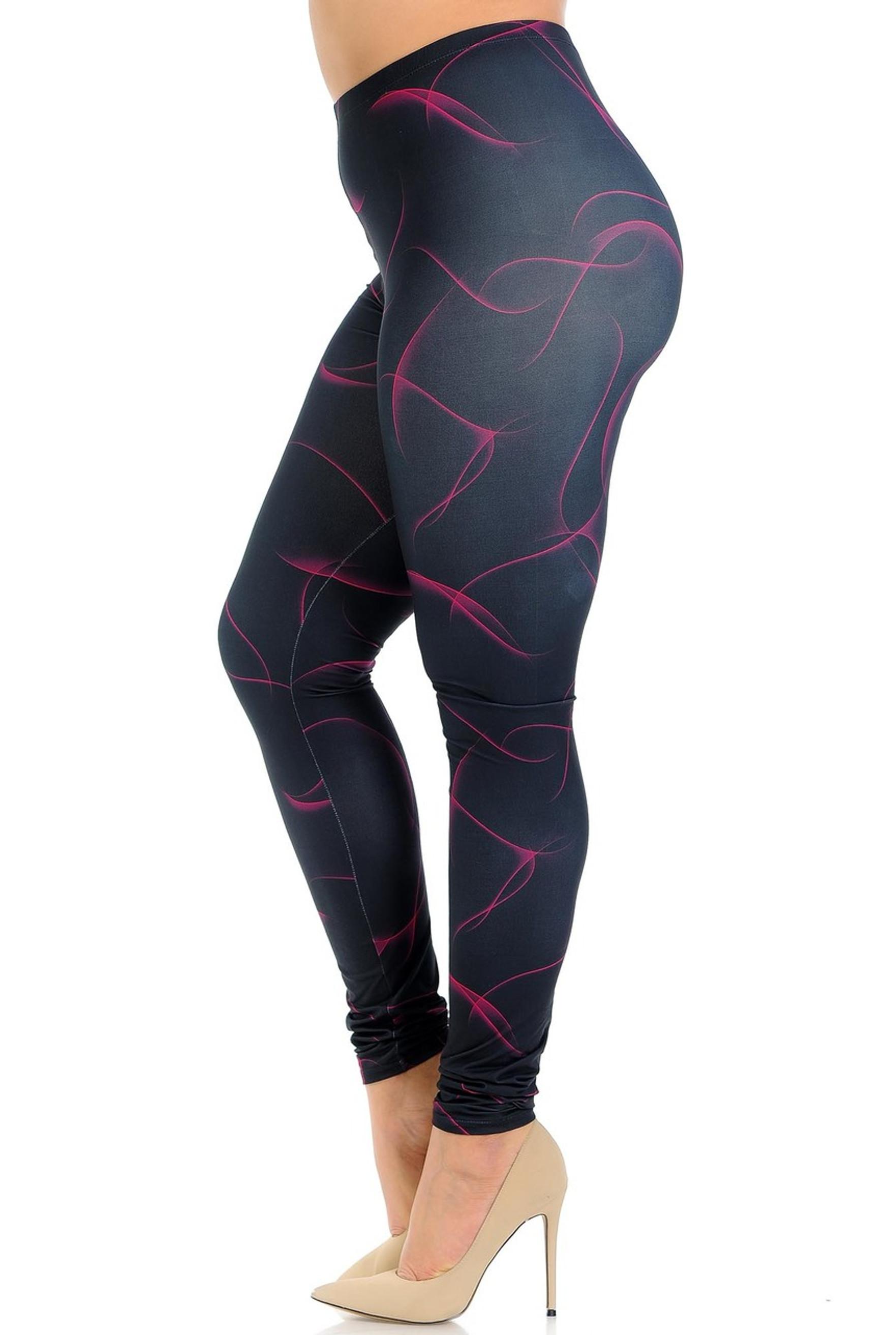 Creamy Soft Fuchsia Mist Plus Size Leggings - USA Fashion™