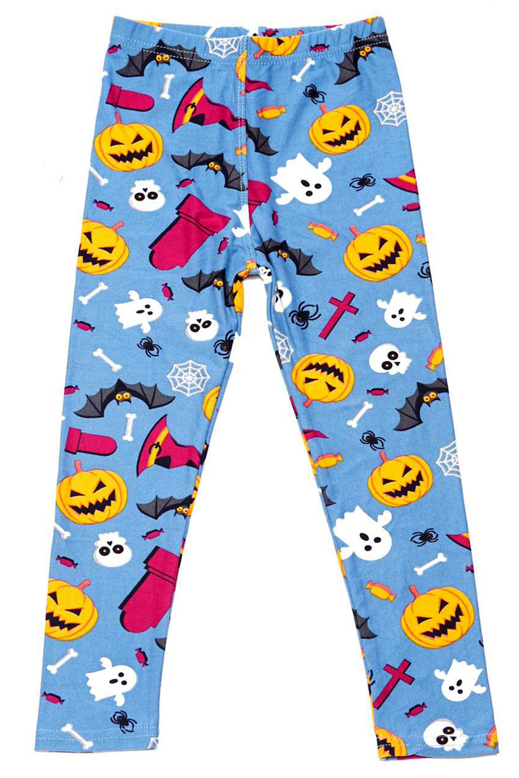 Soft Brushed Steel Blue Halloween Motif Kids Leggings