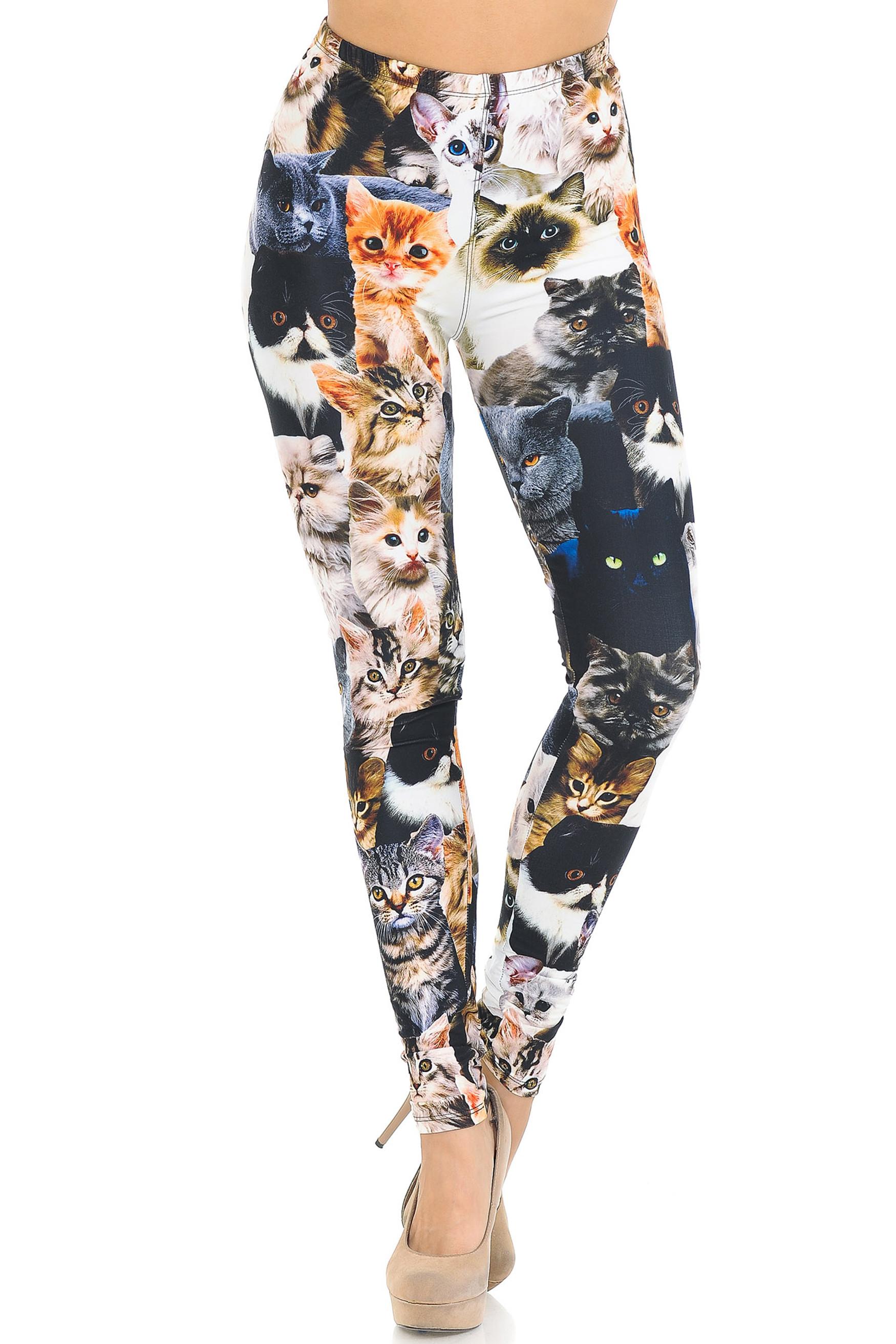 Creamy Soft Cat Collage Leggings - USA Fashion™