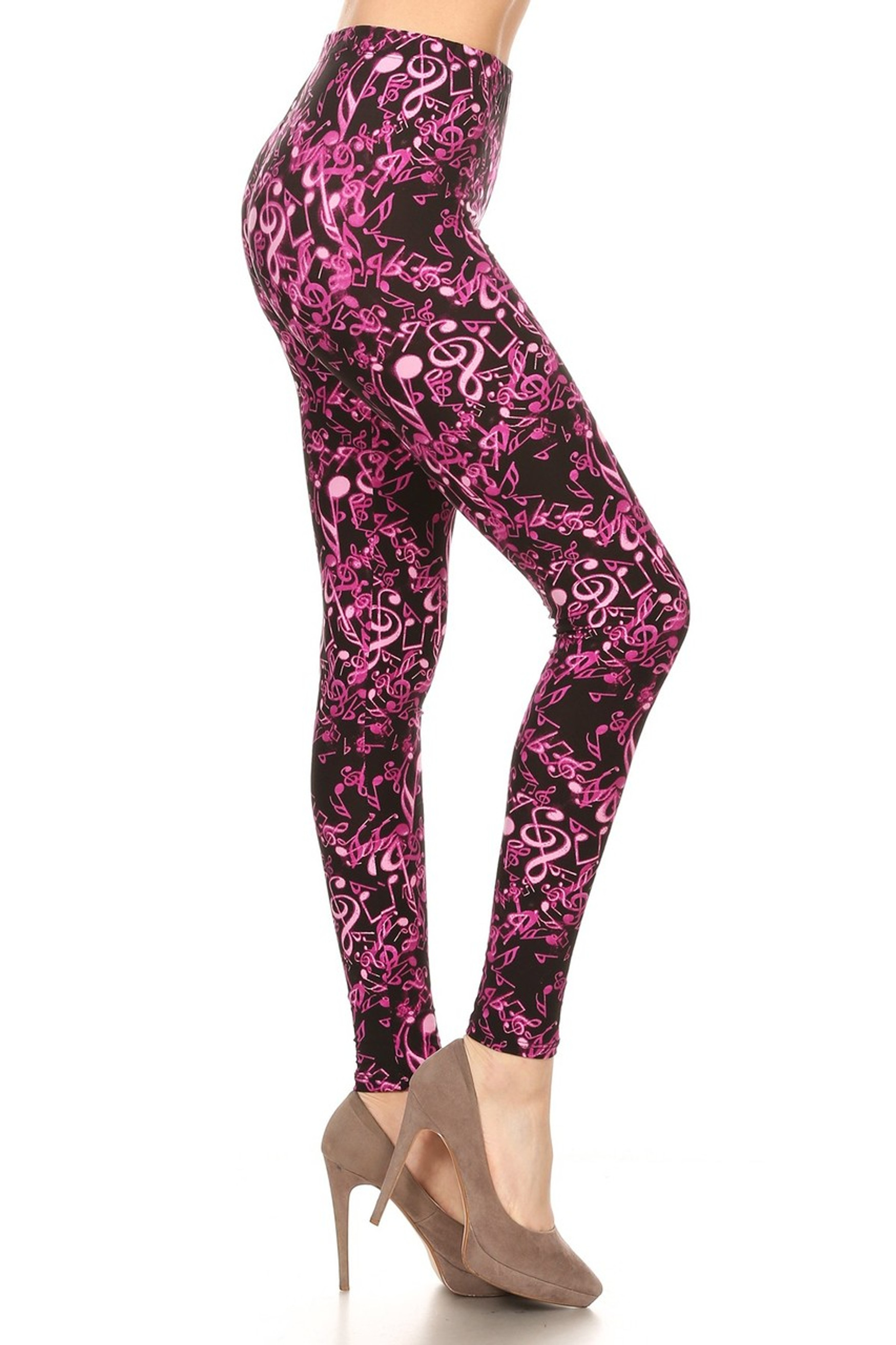 Buttery Soft Electric Fuchsia Music Note Plus Size Leggings