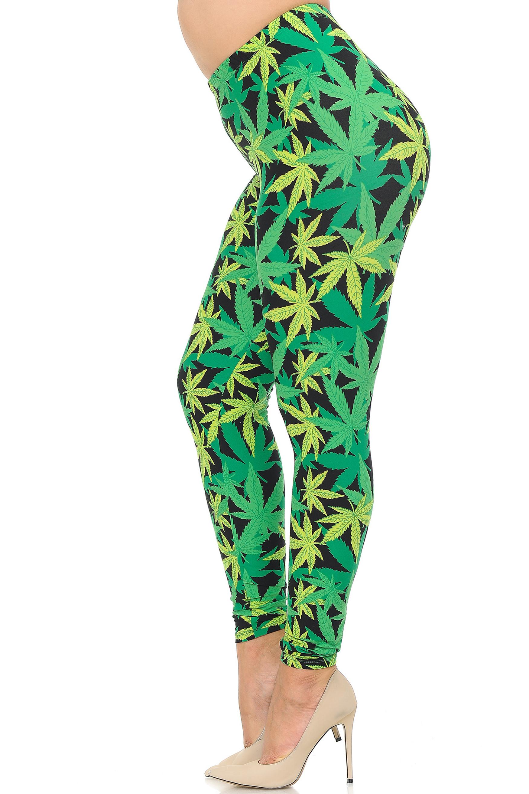 Brushed Cannabis Marijuana Extra Plus Size Leggings - 3X-5X - EEVEE