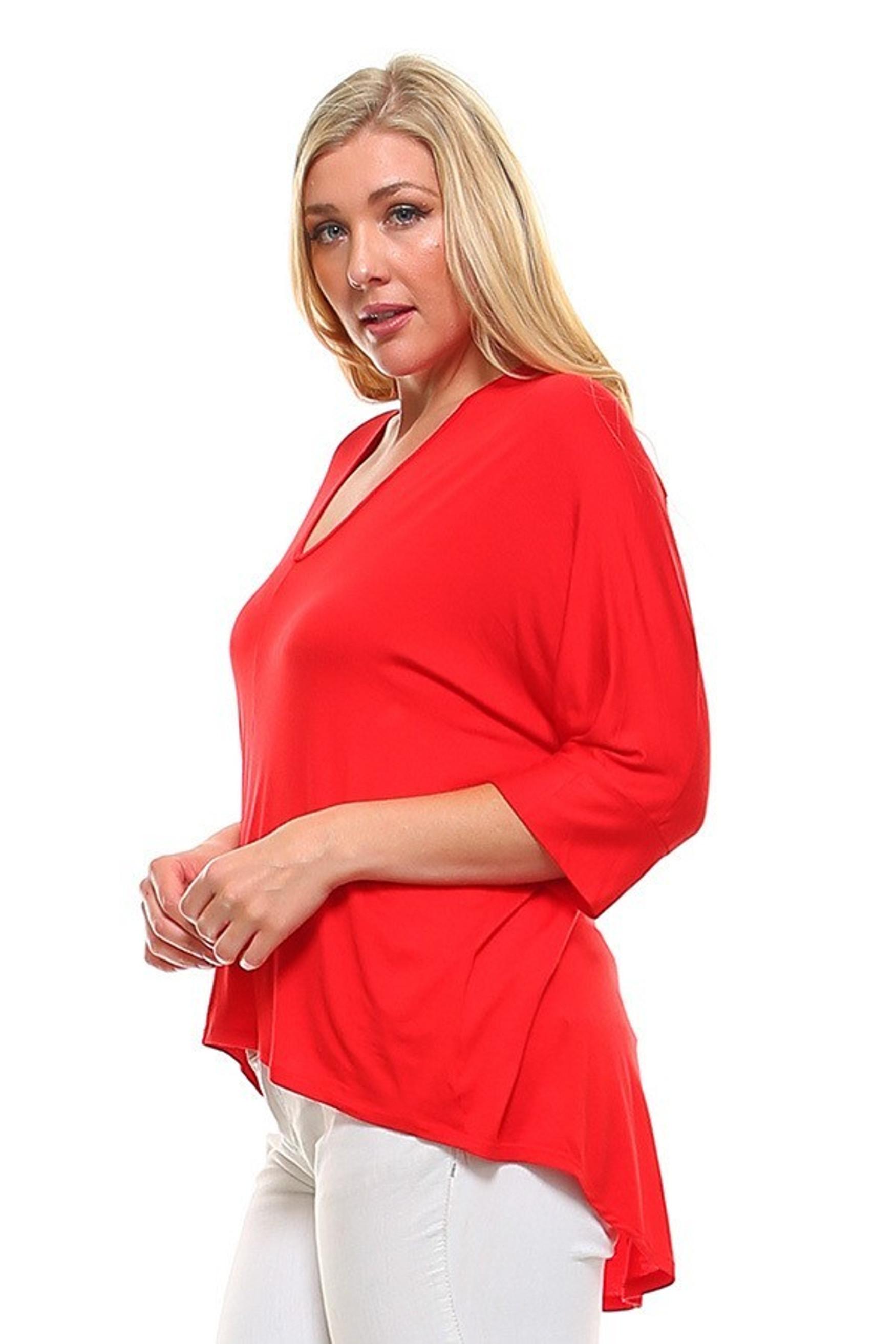 V-Neck 3/4 Sleeve High-Low Hem Rayon Plus Size Top