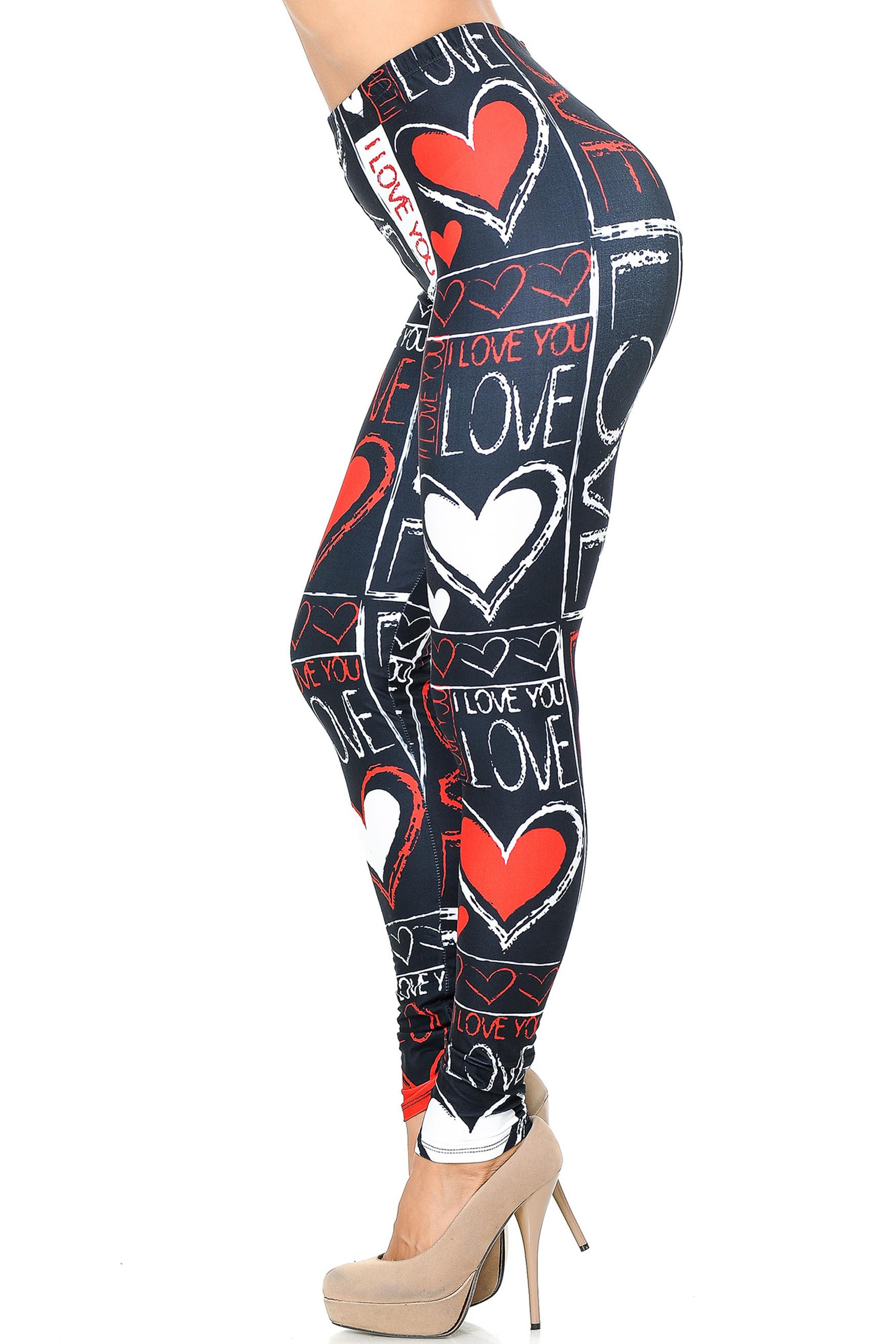 Creamy Soft Heart and Love Leggings - USA Fashion™