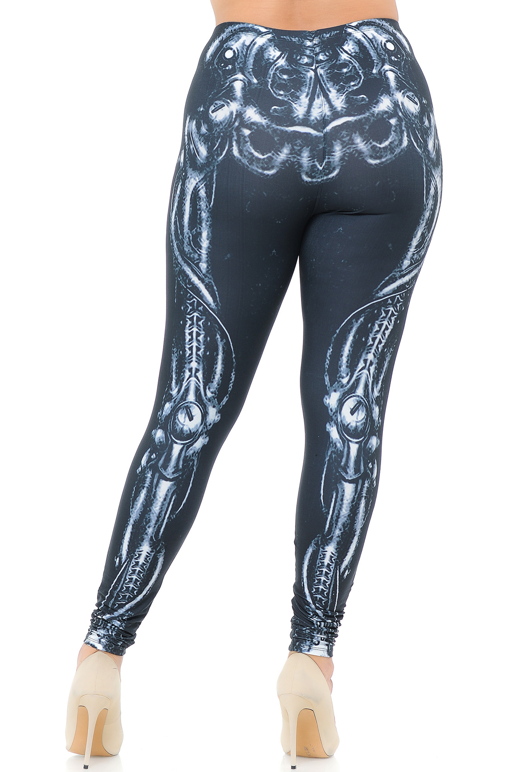 Creamy Soft Black Bio Mechanical Skeleton Extra Plus Size Leggings (Steam Punk) - 3X-5X - USA Fashion™
