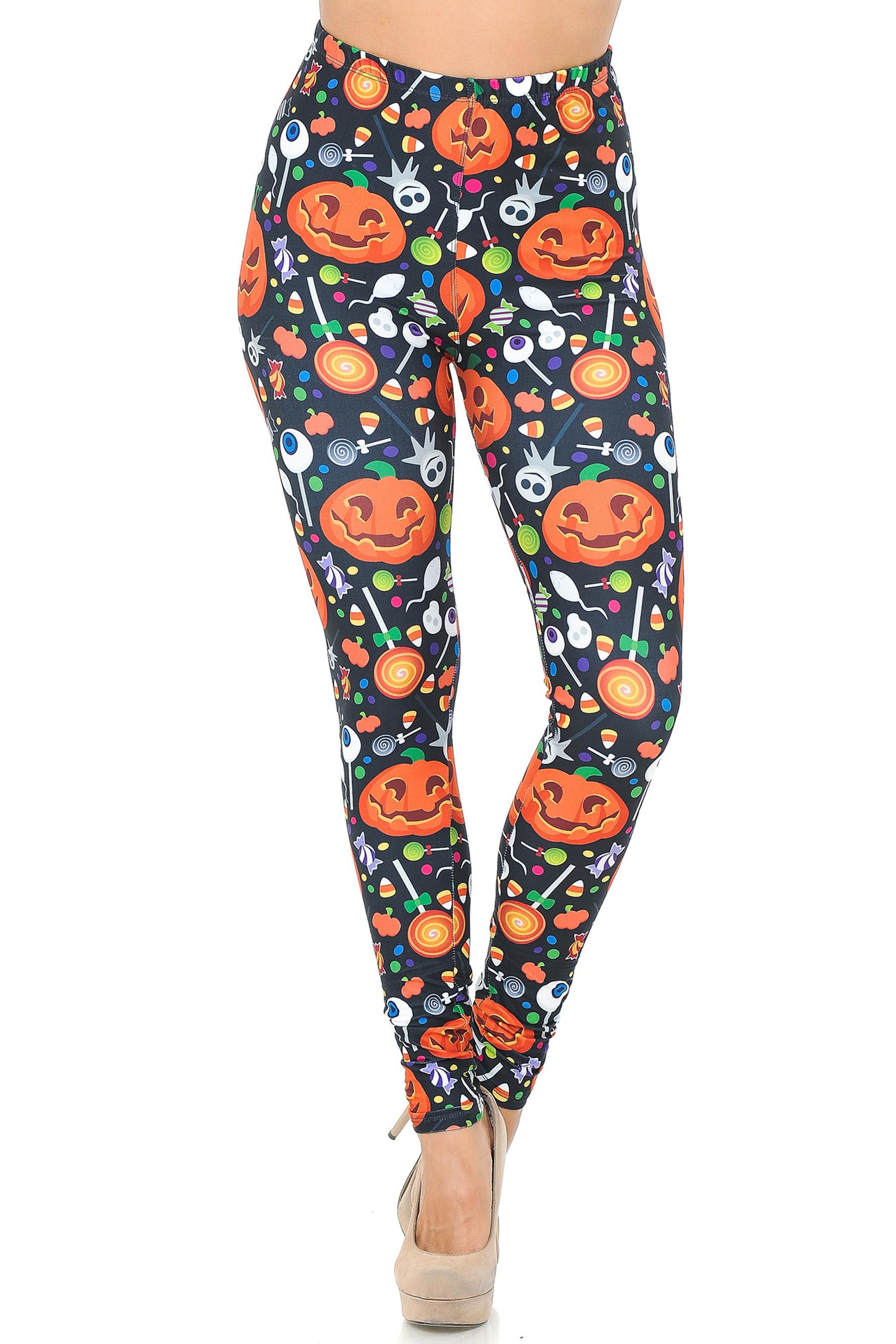 Creamy Soft Pumpkins and Halloween Candy Leggings - USA Fashion™