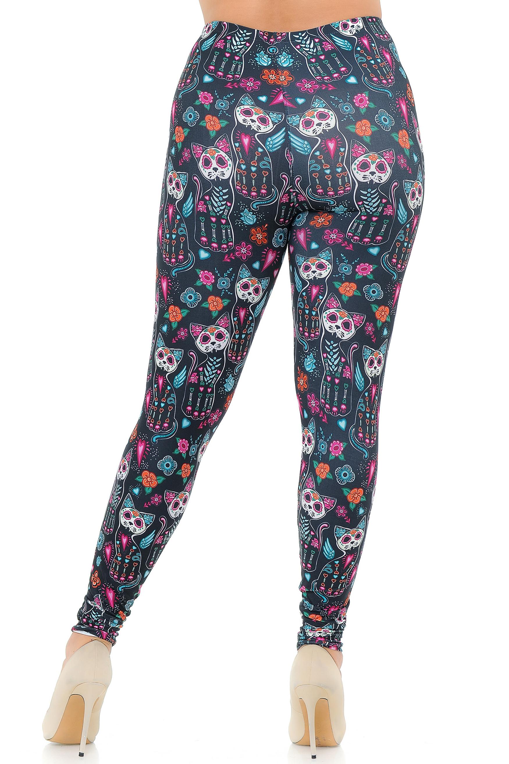 Creamy Soft Sugar Skull Kitty Cats Extra Plus Size Leggings - 3X-5X - USA Fashion™