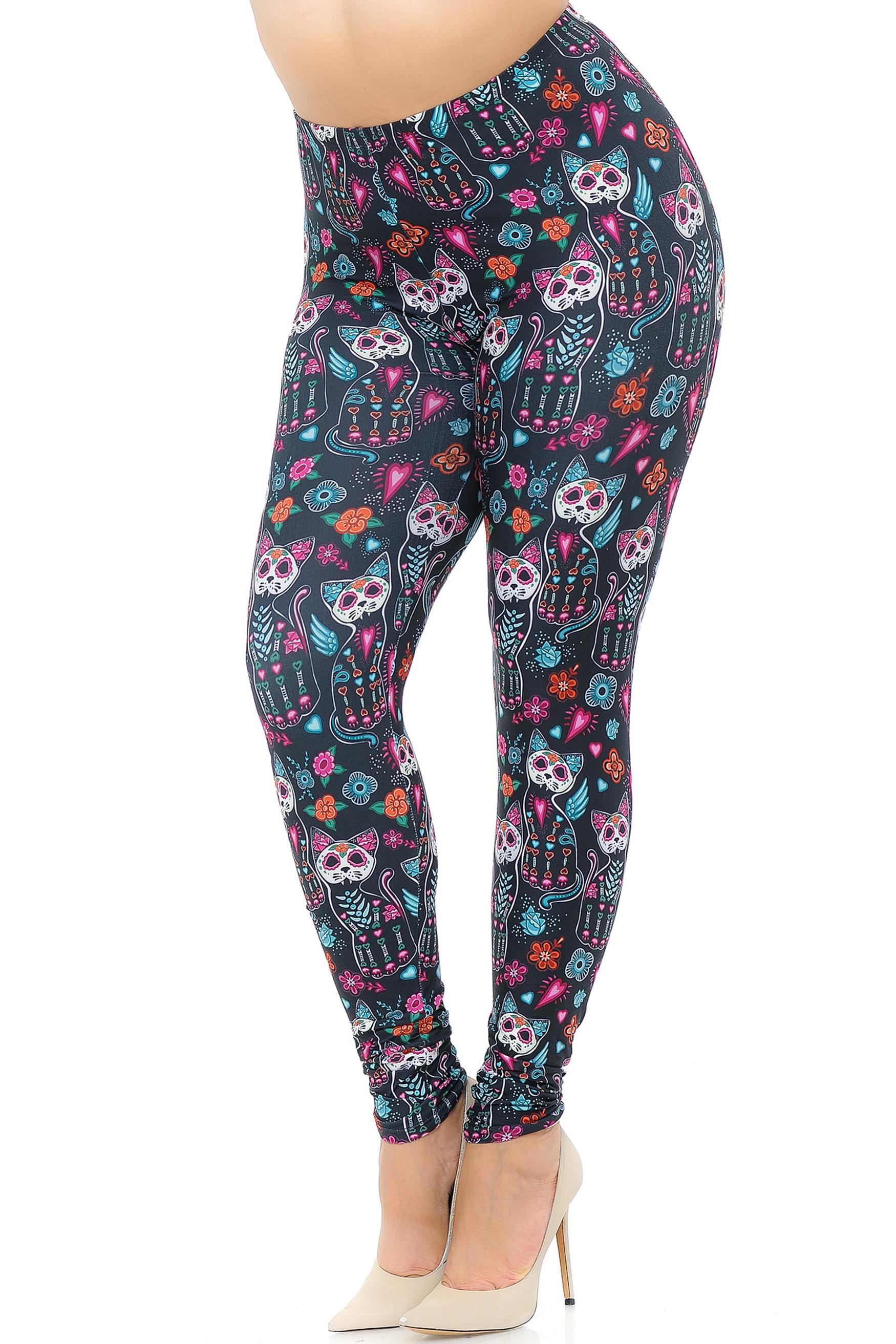 Wholesale Creamy Soft Sugar Skull Kitty Cats Extra Plus Size Leggings - 3X-5X - USA Fashion™
