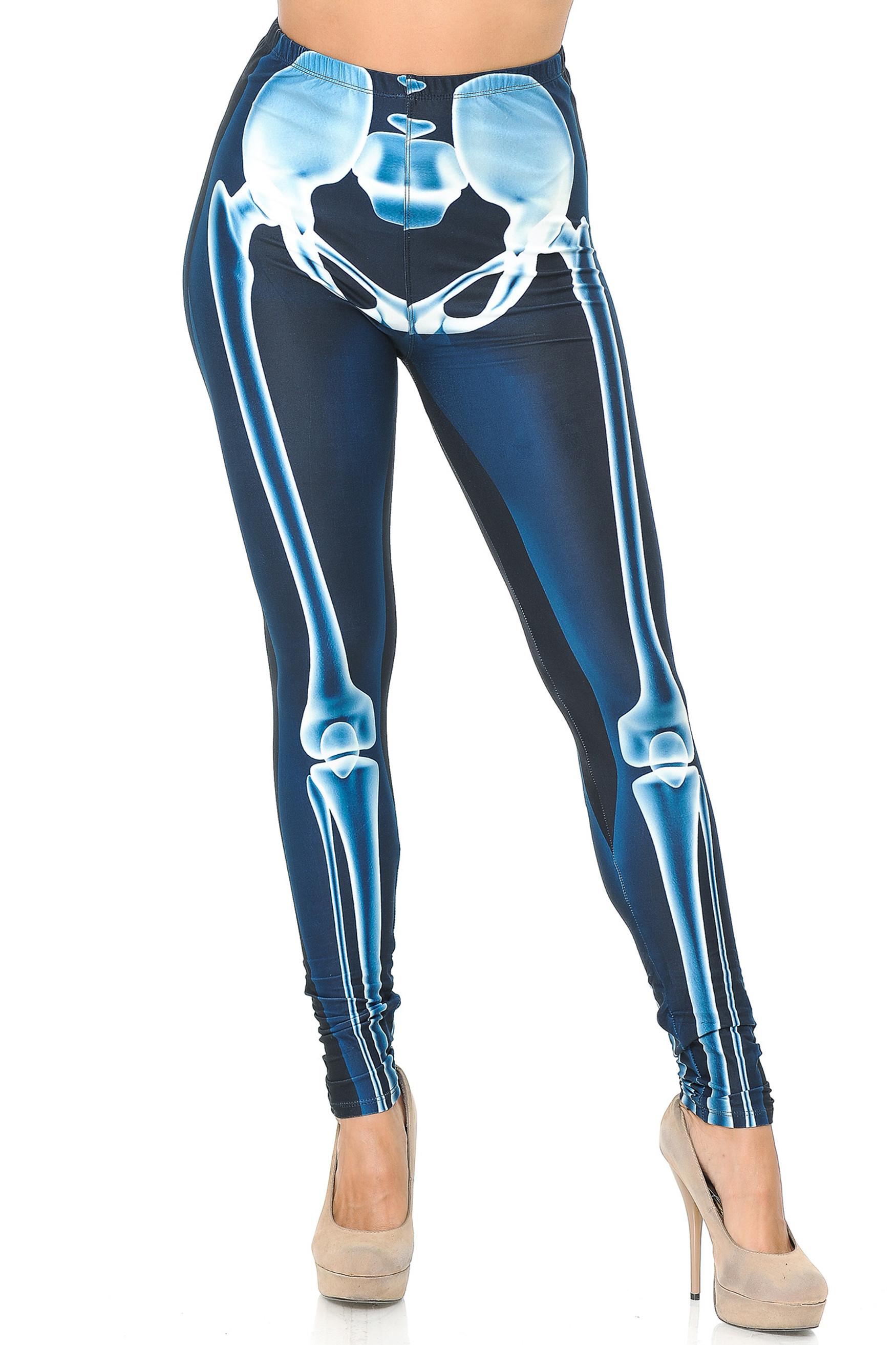 Creamy Soft Radioactive Skeleton Bones Plus Size Leggings - USA Fashion™