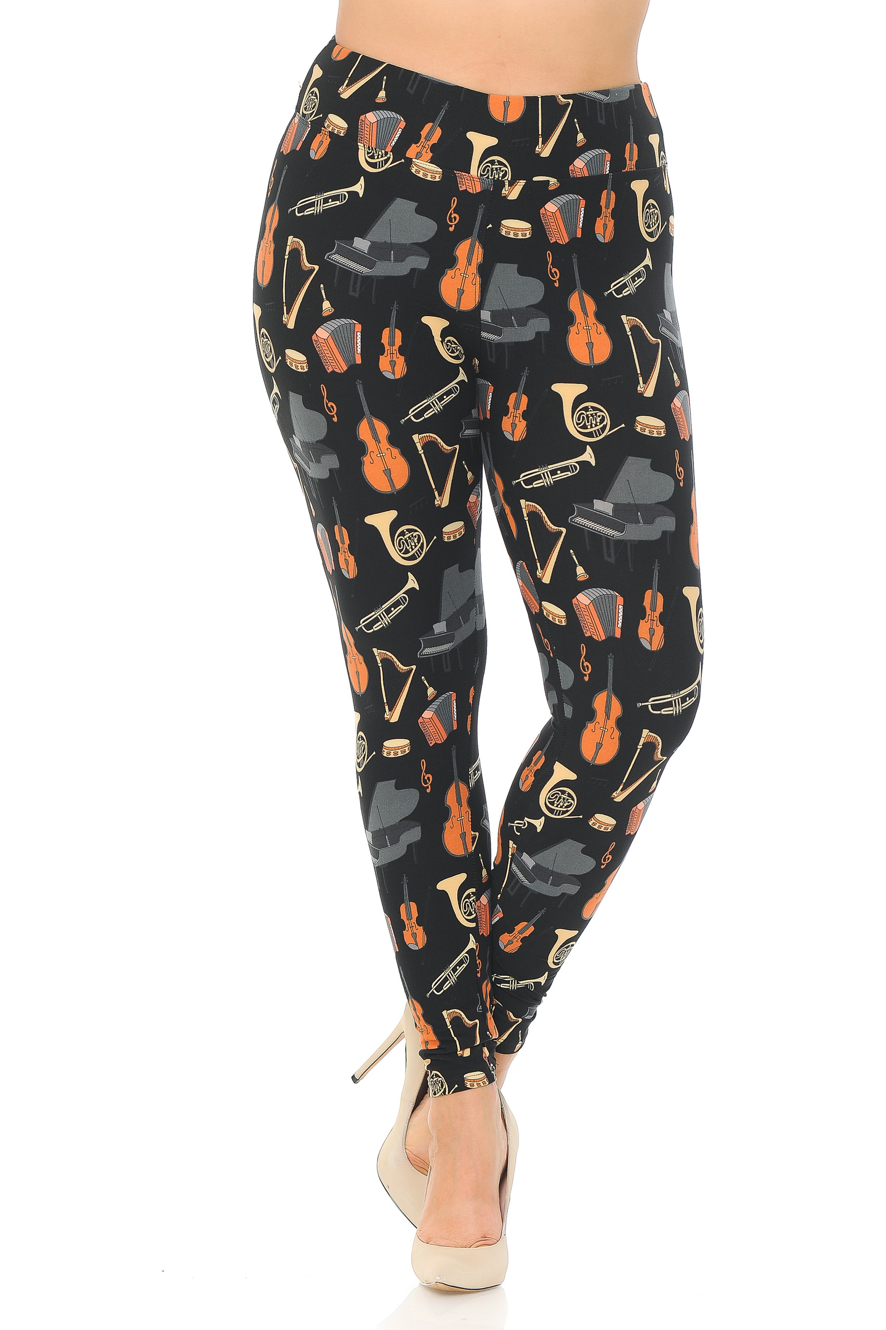 Brushed Musical Instrument Extra Plus Size Leggings - 3X-5X