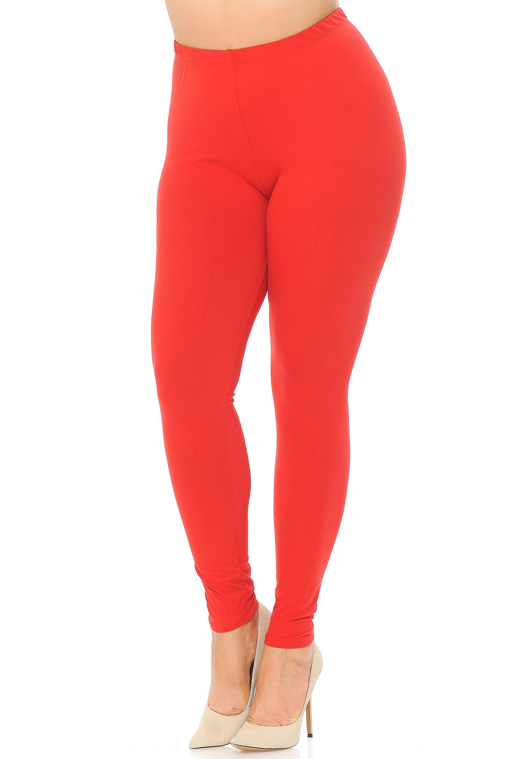 Red Main Brushed Basic Solid Plus Size Leggings - EEVEE