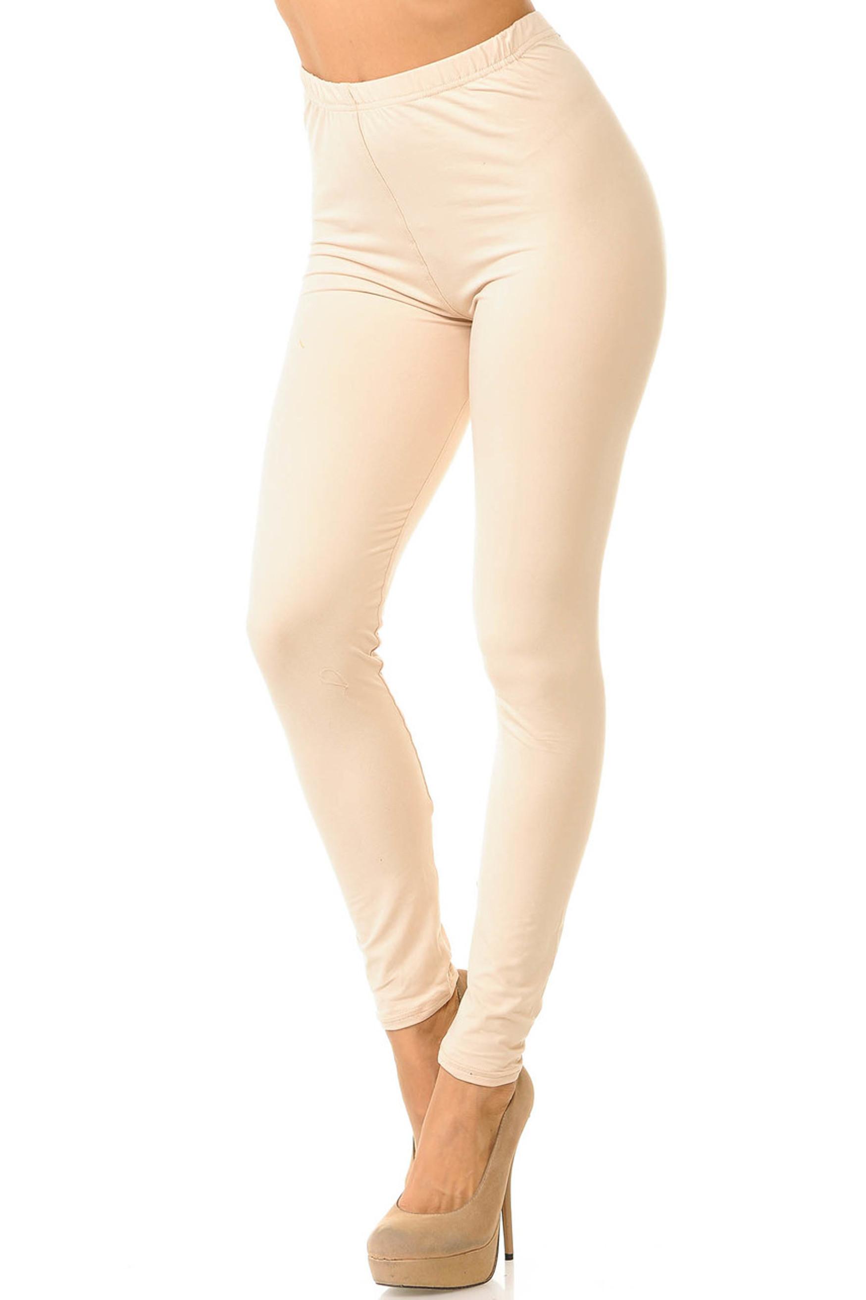 Beige Brushed Basic Solid Leggings - New Mix