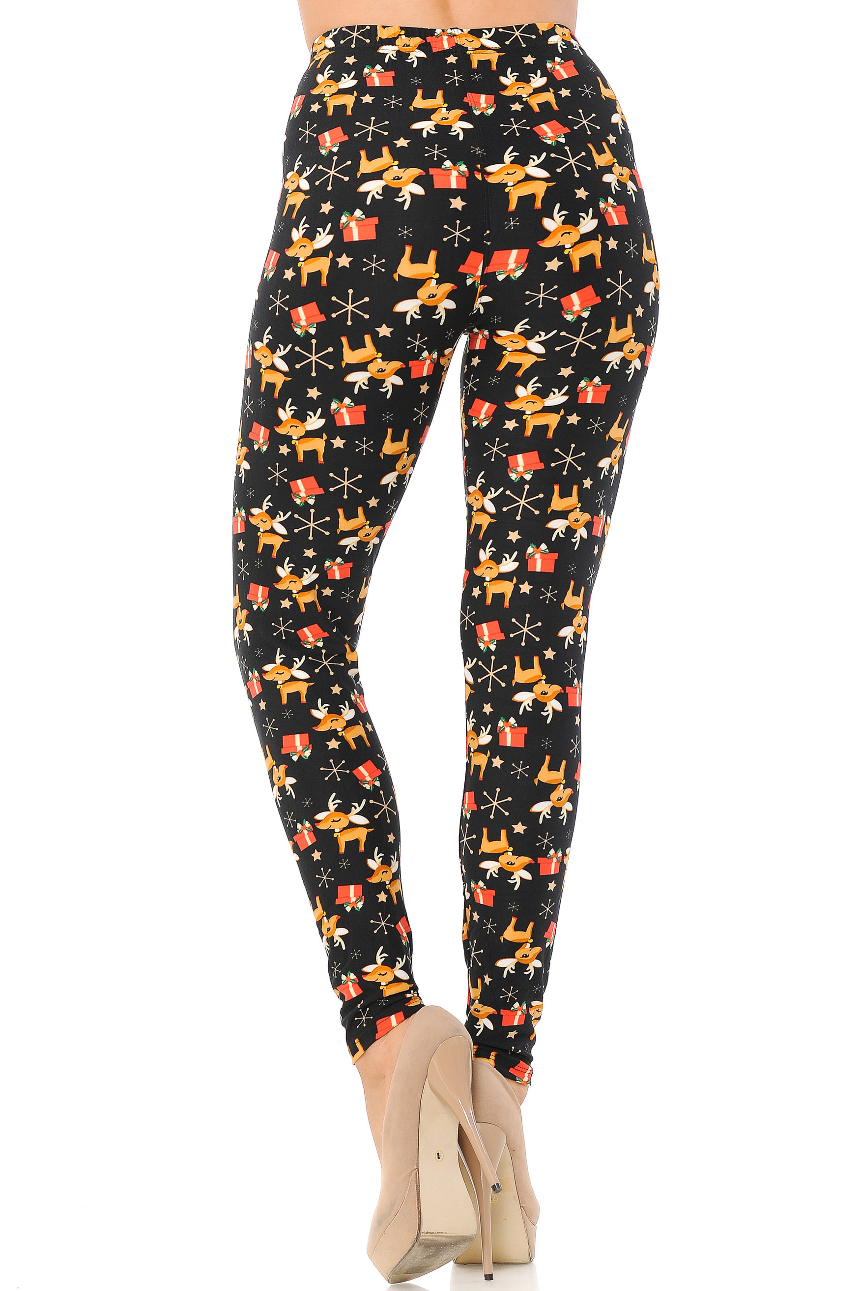 Brushed Presents and Baby Reindeer Christmas Plus Size LeggingsBrushed Presents and Baby Reindeer Christmas Plus Size Leggings