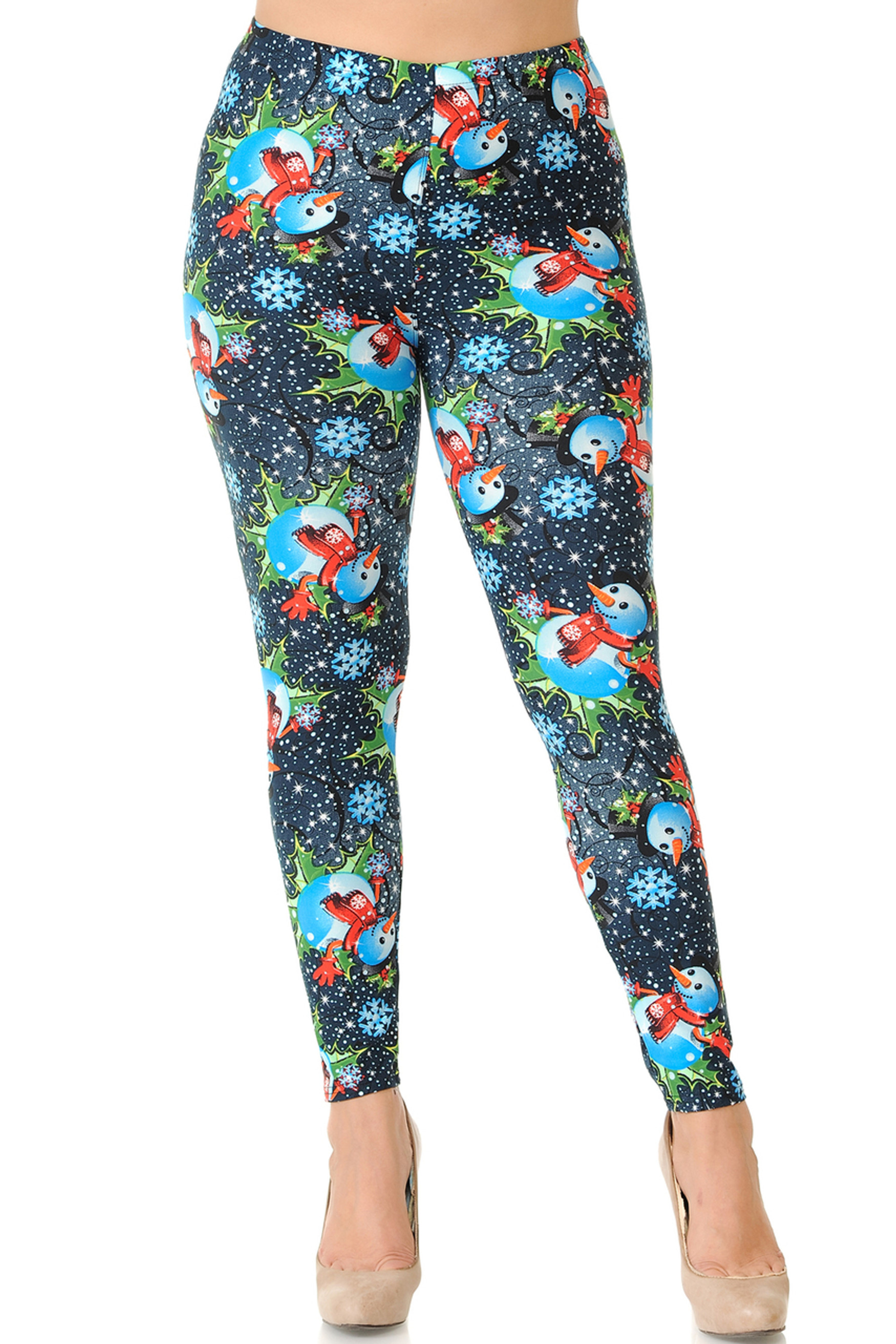 Brushed Frosty Blue Snowman Christmas Extra Plus Size Leggings - 3X-5X