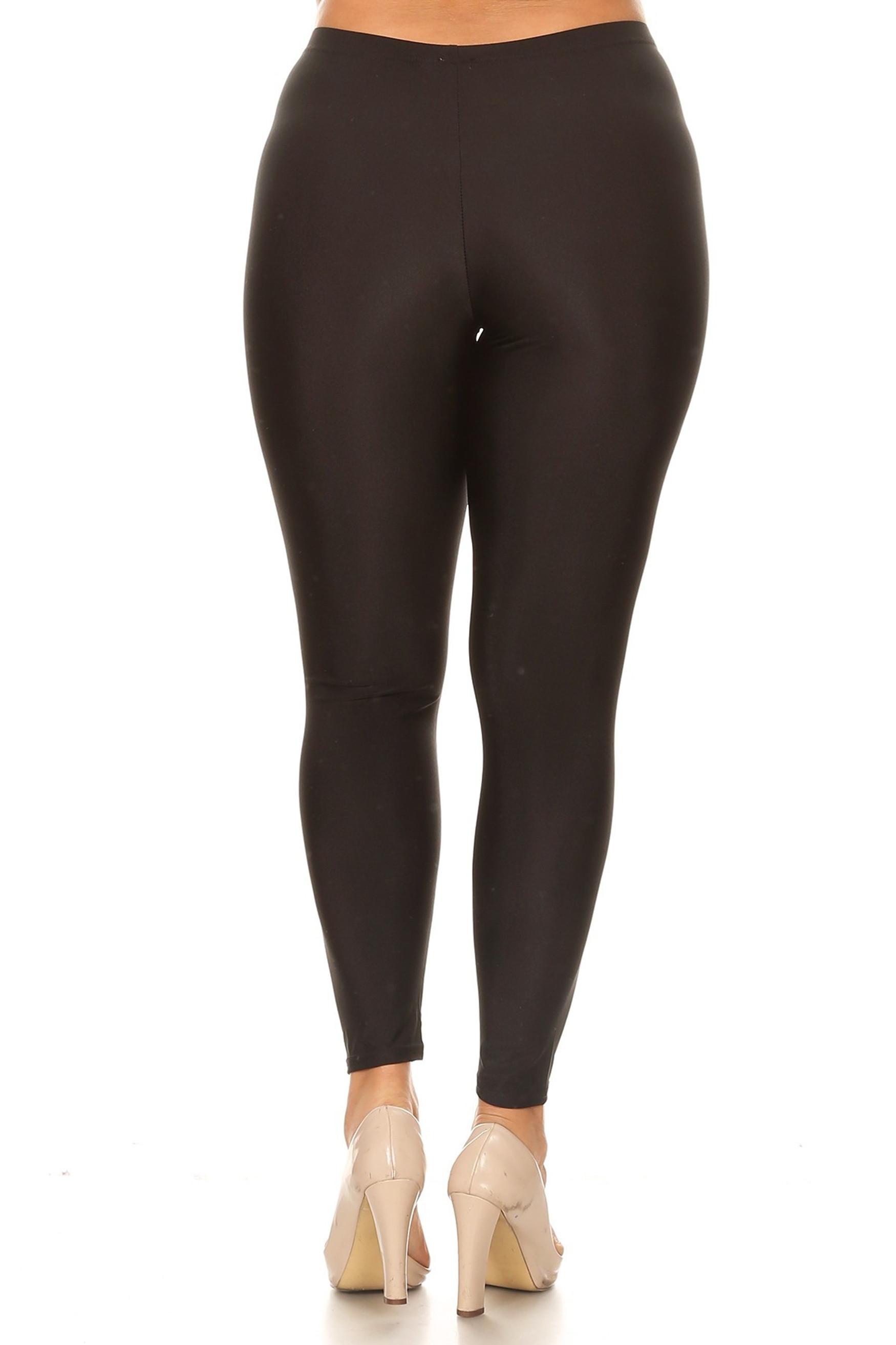Black Back Premium Shiny Stretch Plus Size Leggings