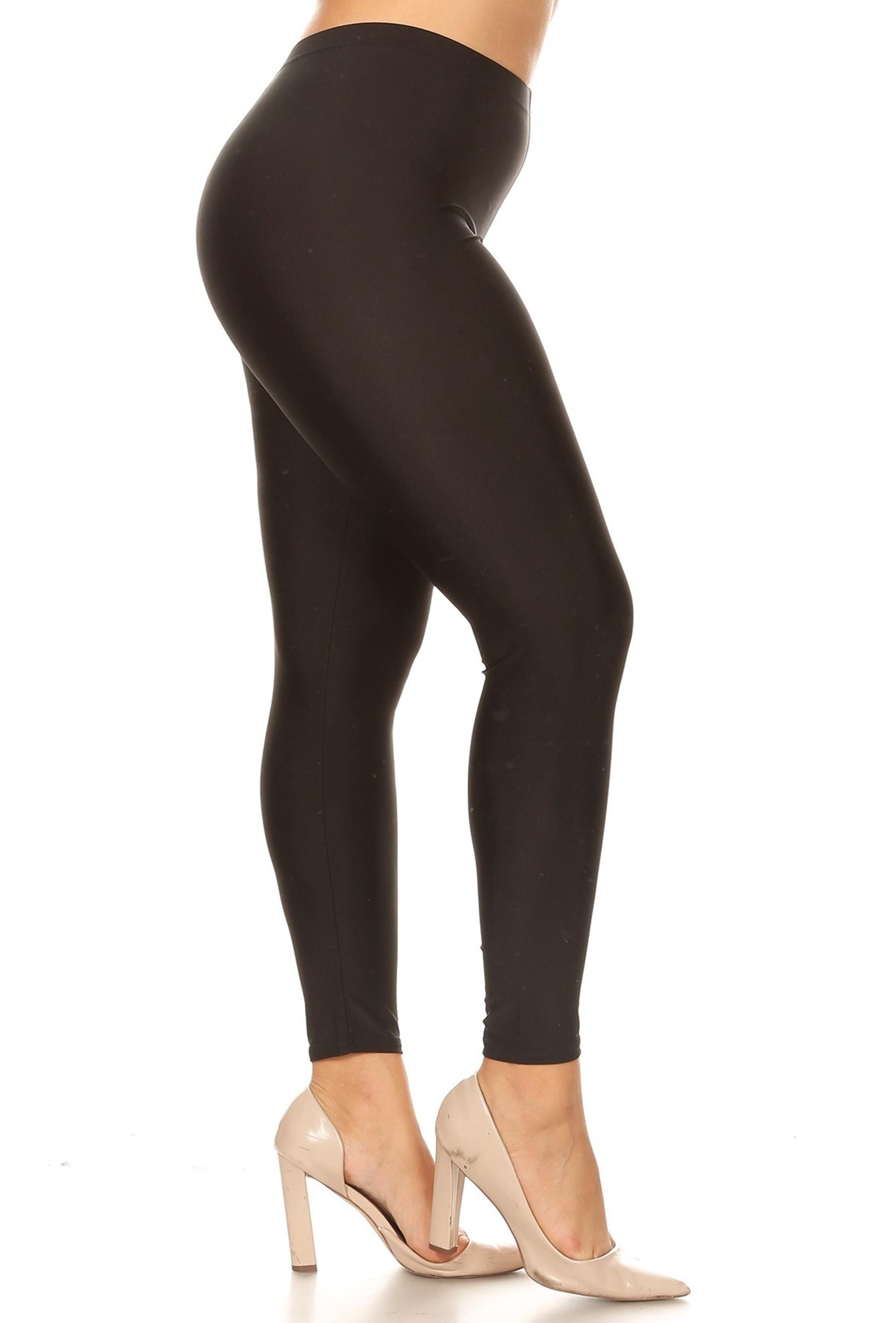 Black Side Premium Shiny Stretch Plus Size Leggings