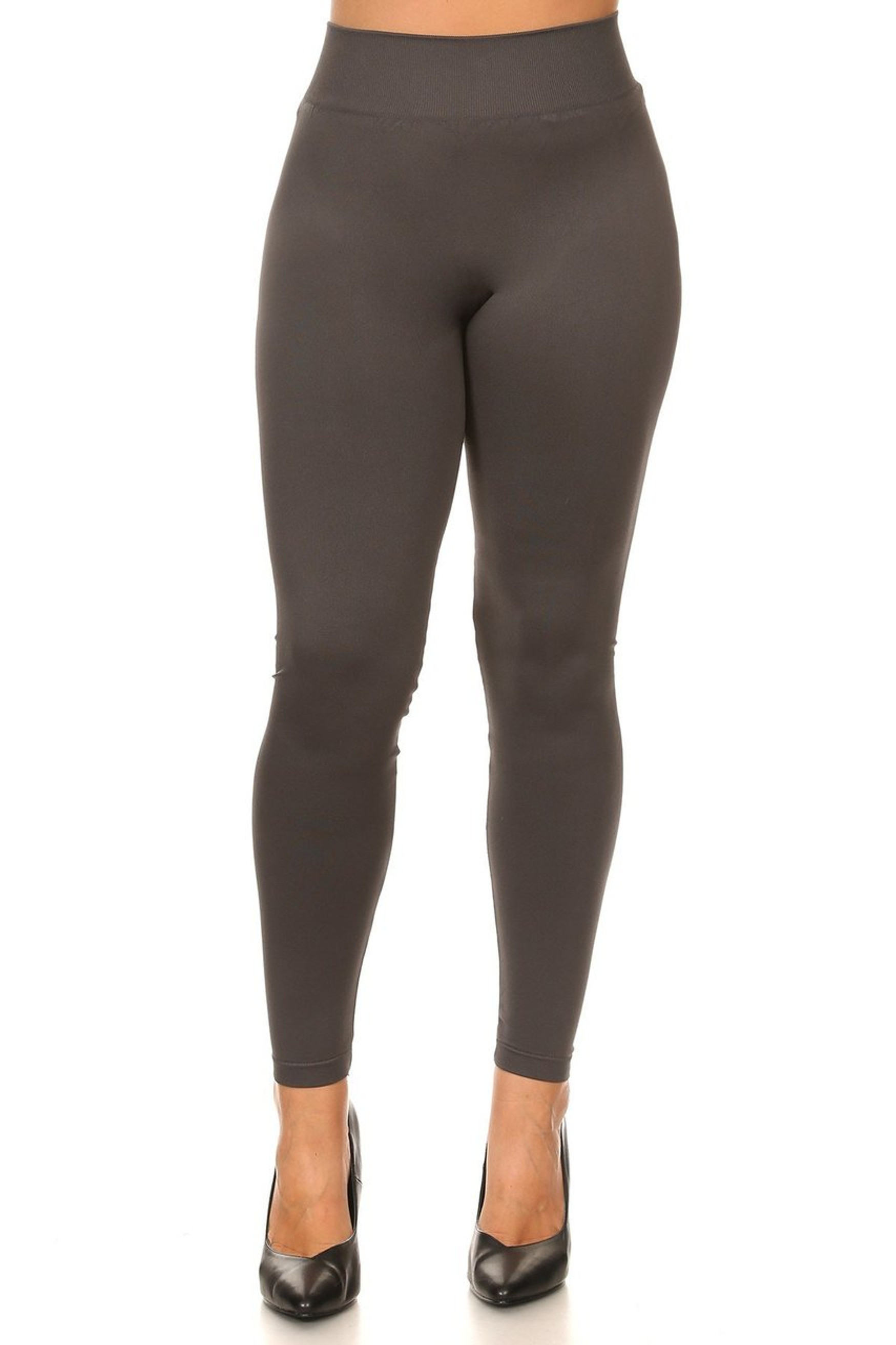 Front side image of Extra Thick Solid Basic Plus Size Leggings