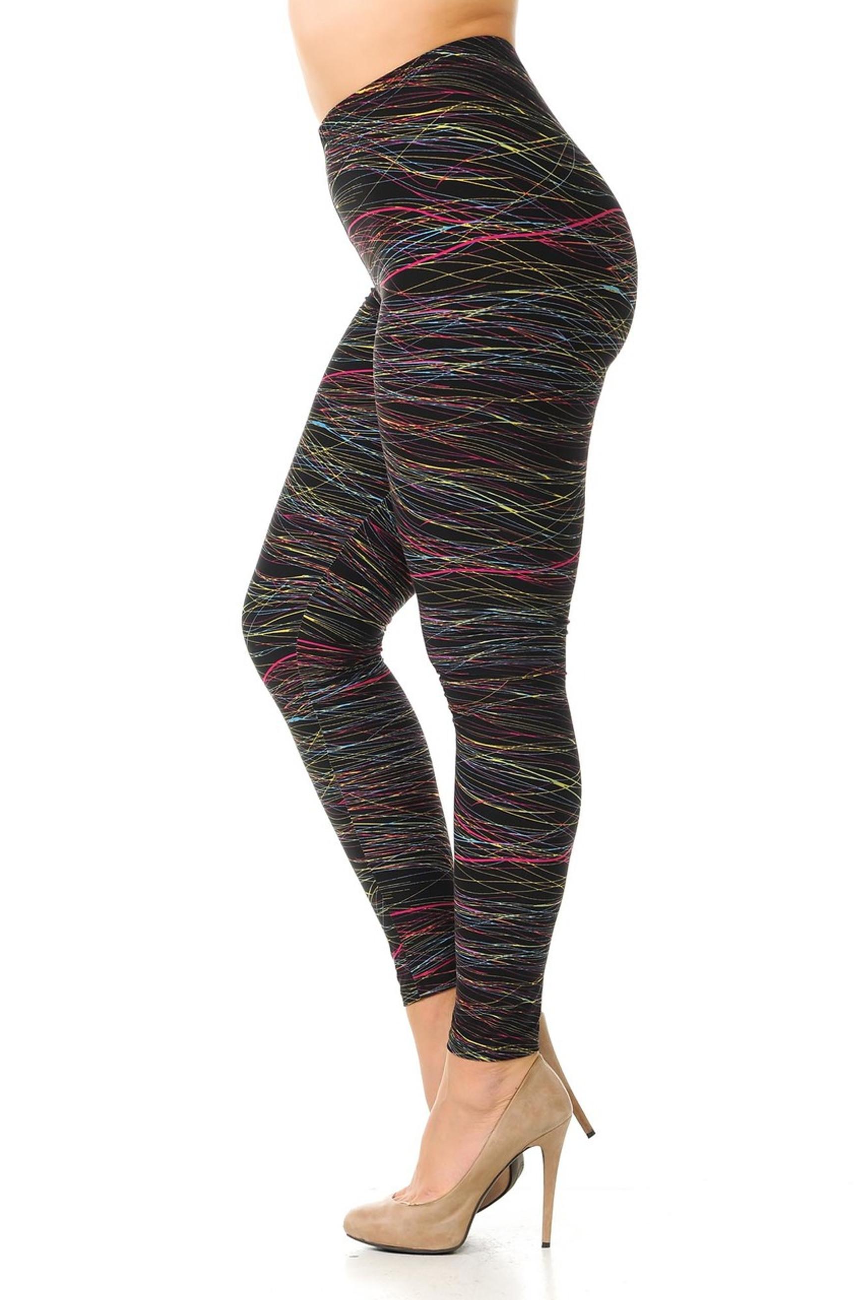 Brushed Plus Size Rainbow Lines Leggings