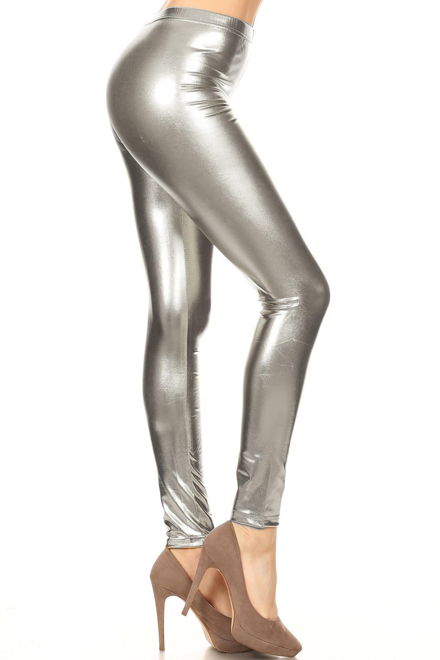 Silver Shiny Metallic Leggings