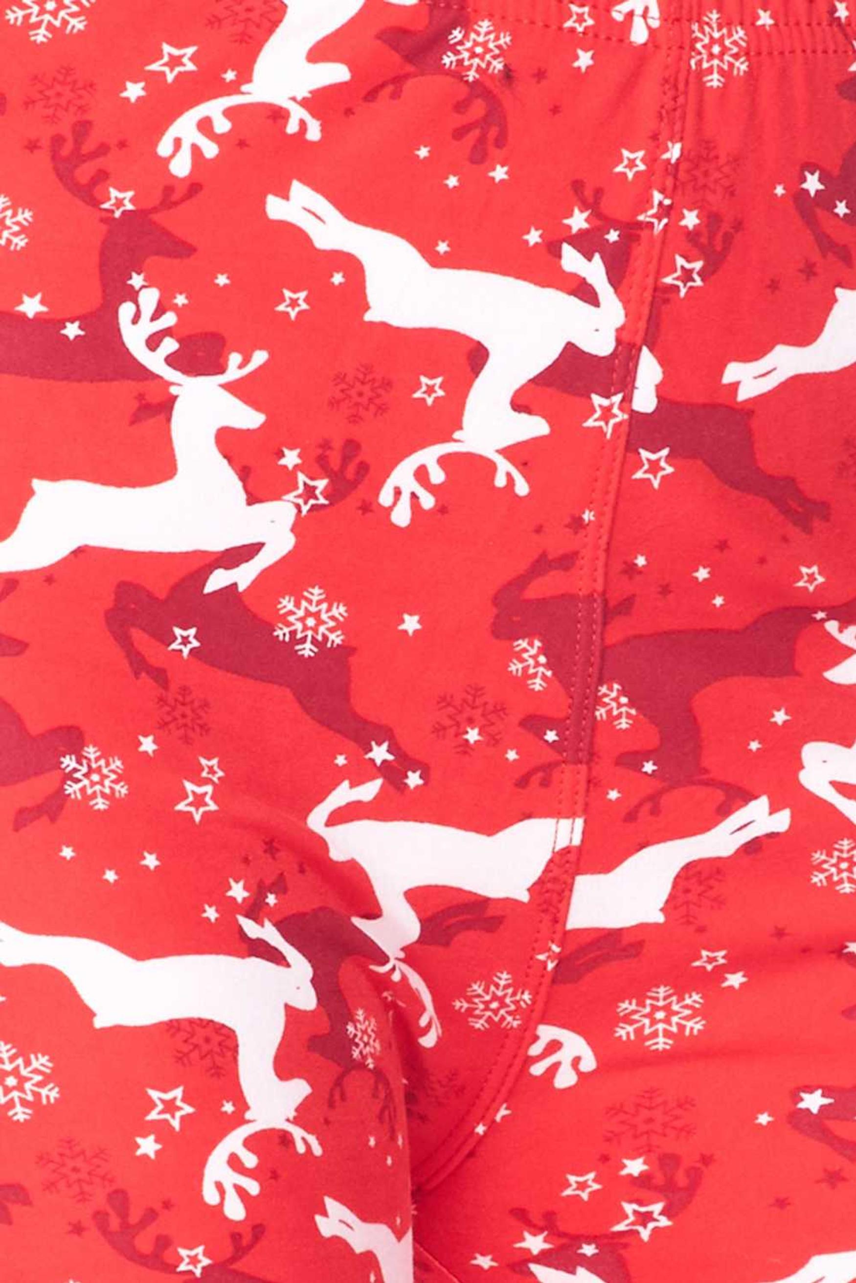 Brushed Ruby Red Leaping Reindeer Christmas Leggings