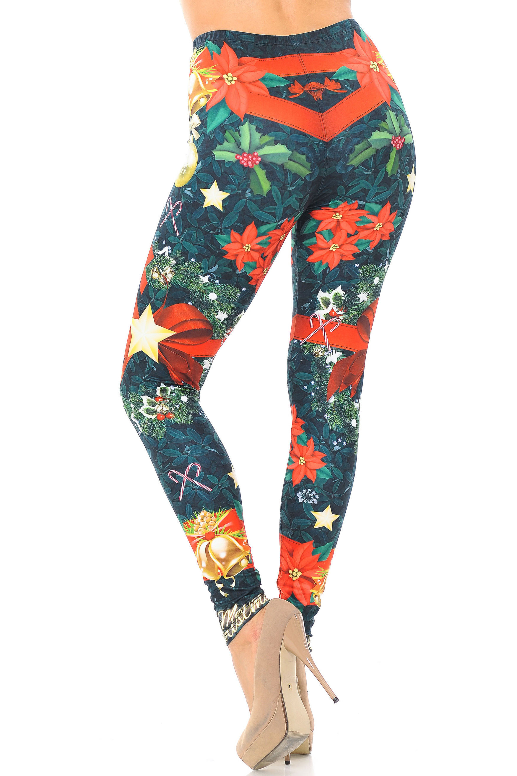 Creamy Soft Christmas Bows and Wreath Leggings - USA Fashion™