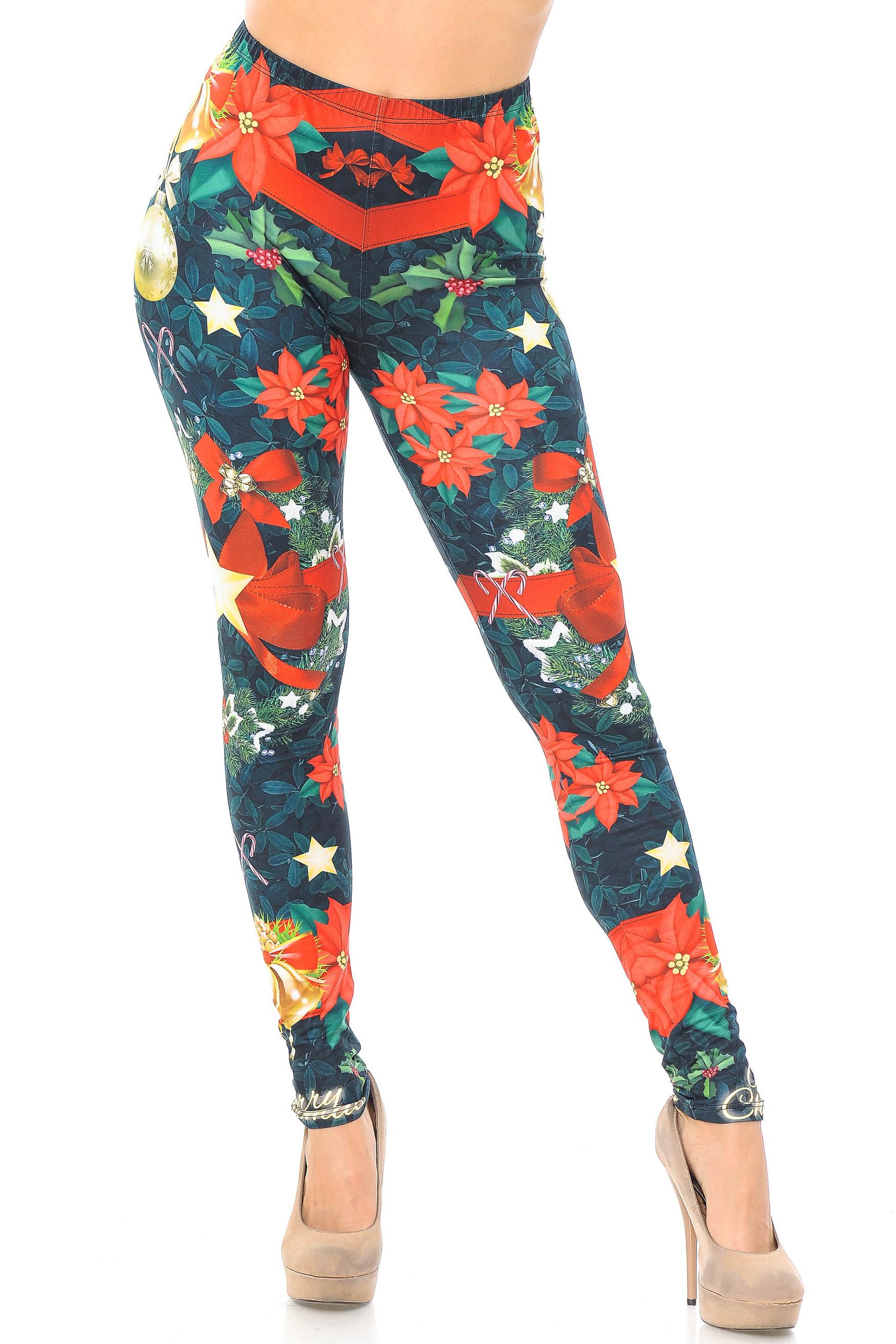 Creamy Soft Christmas Bows and Wreath Plus Size Leggings - USA Fashion™