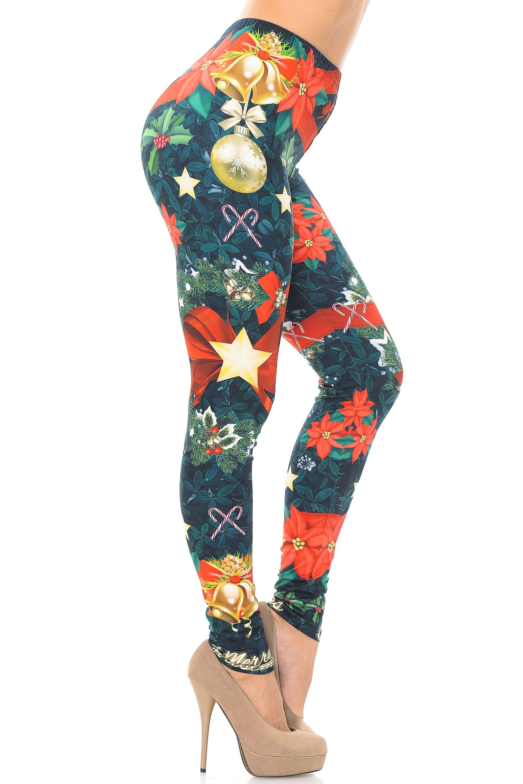 Creamy Soft Christmas Bows and Wreaths Extra Plus Size Leggings - 3X-5X - USA Fashion™