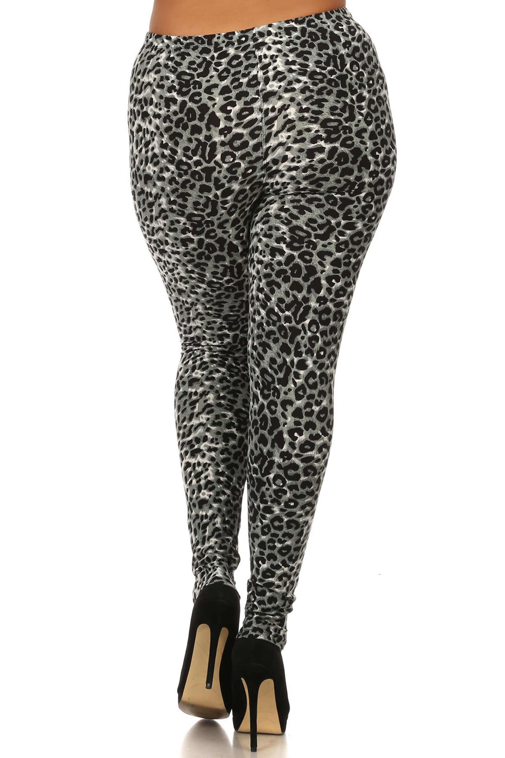 Brushed  Snow Leopard Extra Plus Size Leggings - 3X-5X