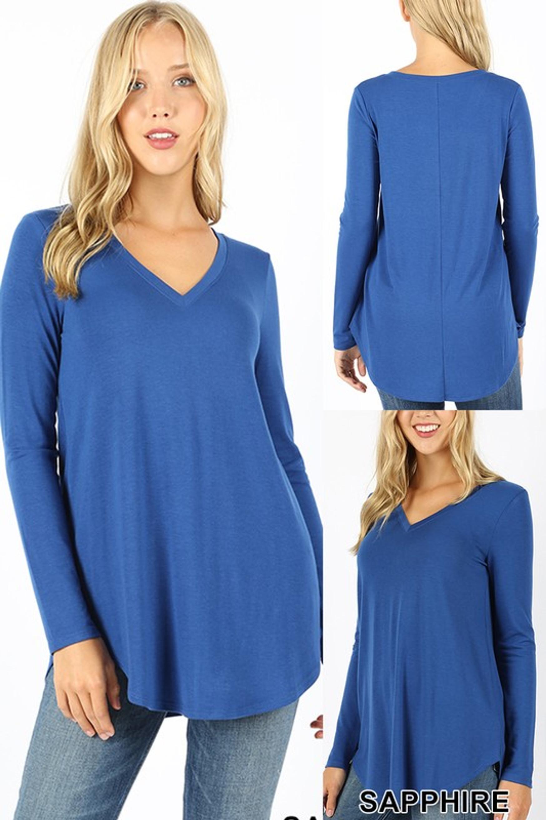 Premium V-Neck Round Hem Long Sleeve Top