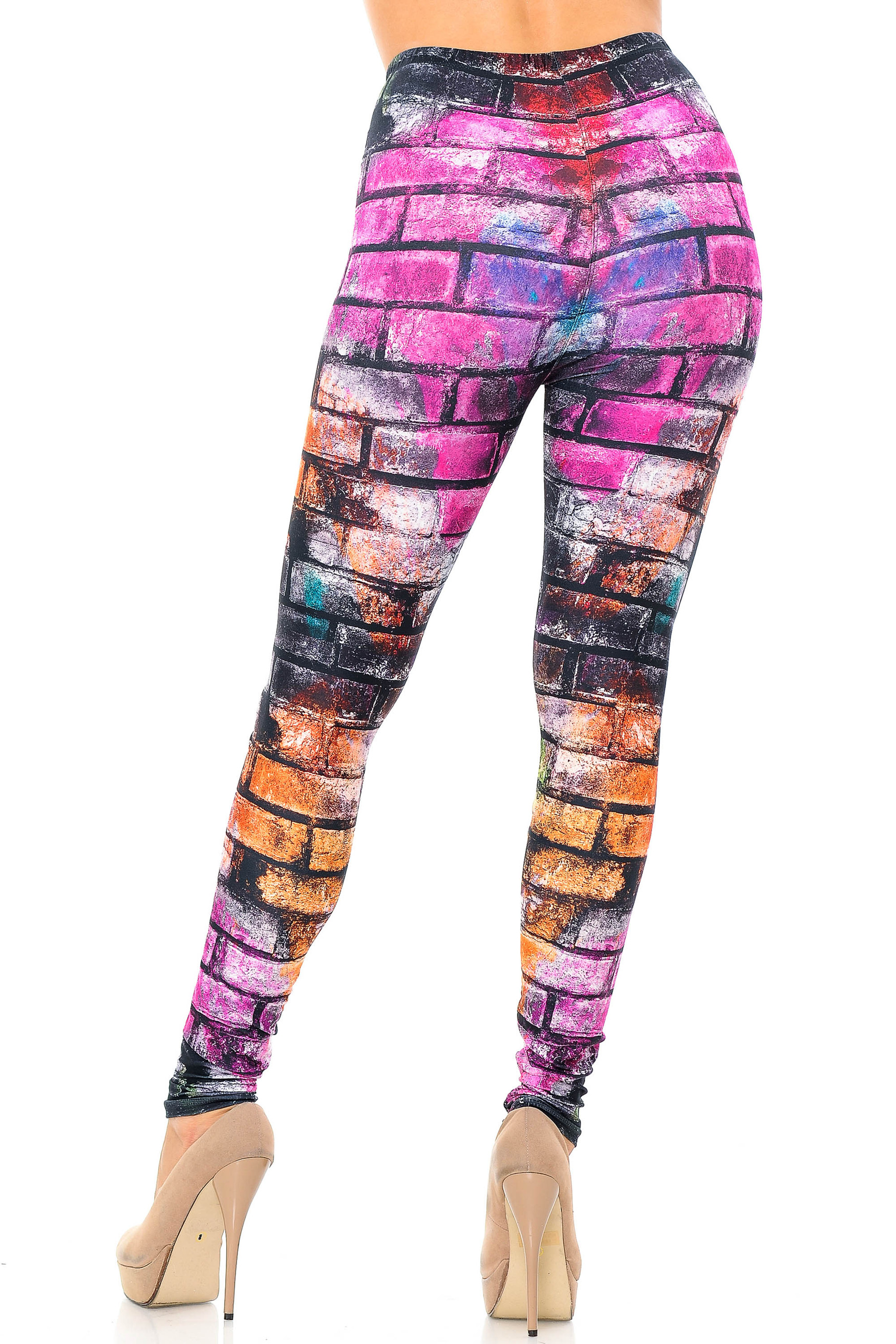 Creamy Soft Rainbow Brick Extra Plus Size Leggings - 3X-5X - USA Fashion™