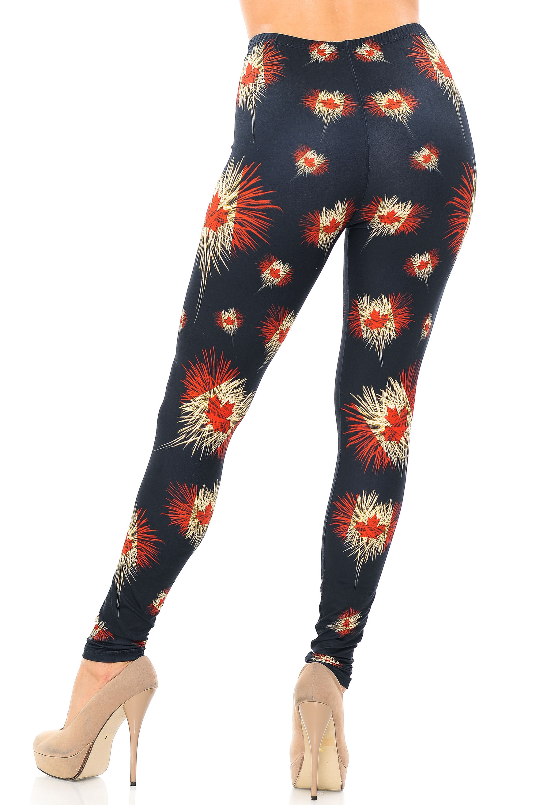 Creamy Soft Canadian Flag Fireworks Leggings - USA Fashion™