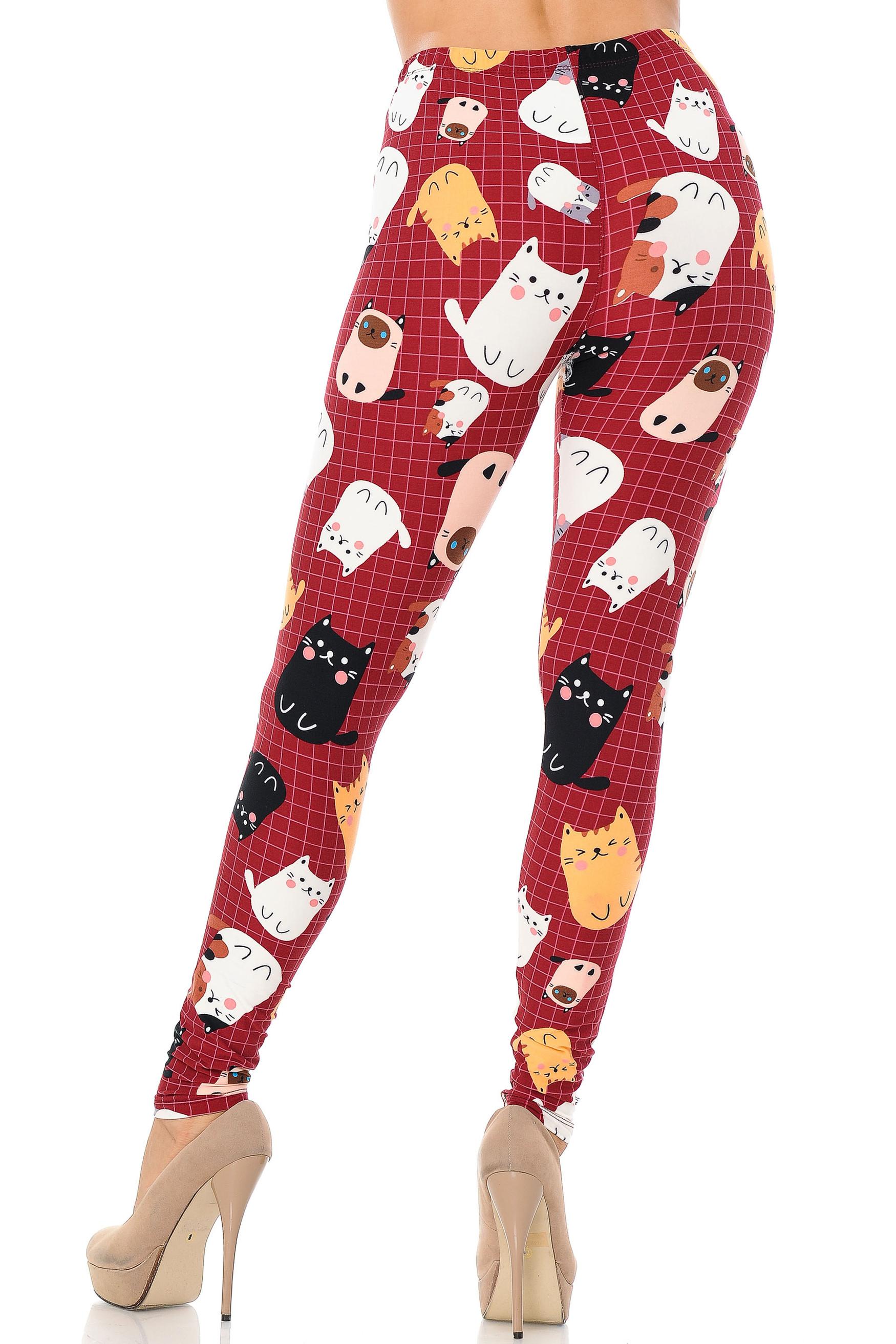 Brushed Cartoon Kitty Cats Extra Plus Size Leggings - 3X-5X