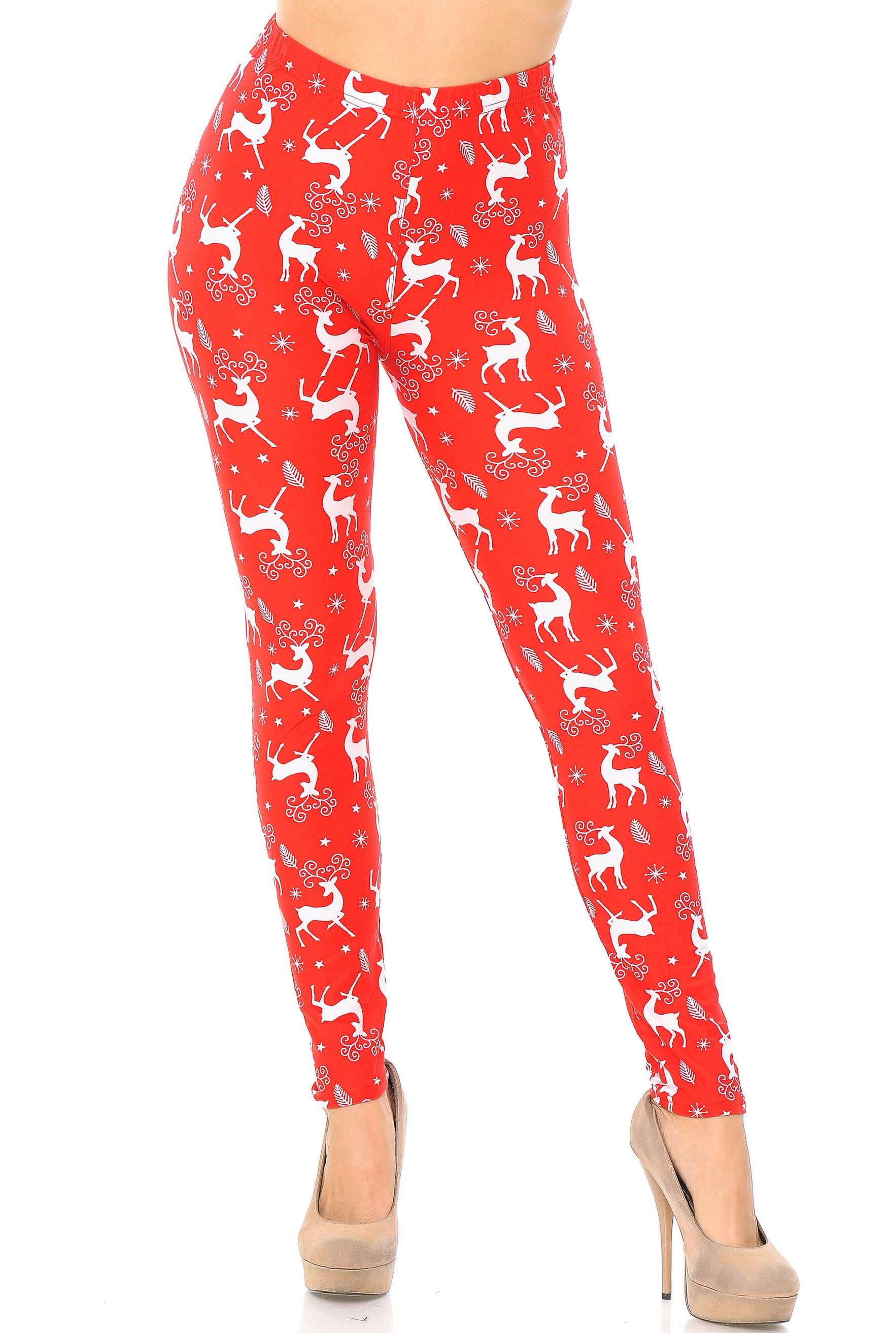 Brushed Prancing Christmas Reindeer Extra Plus Size Leggings - 3X-5X
