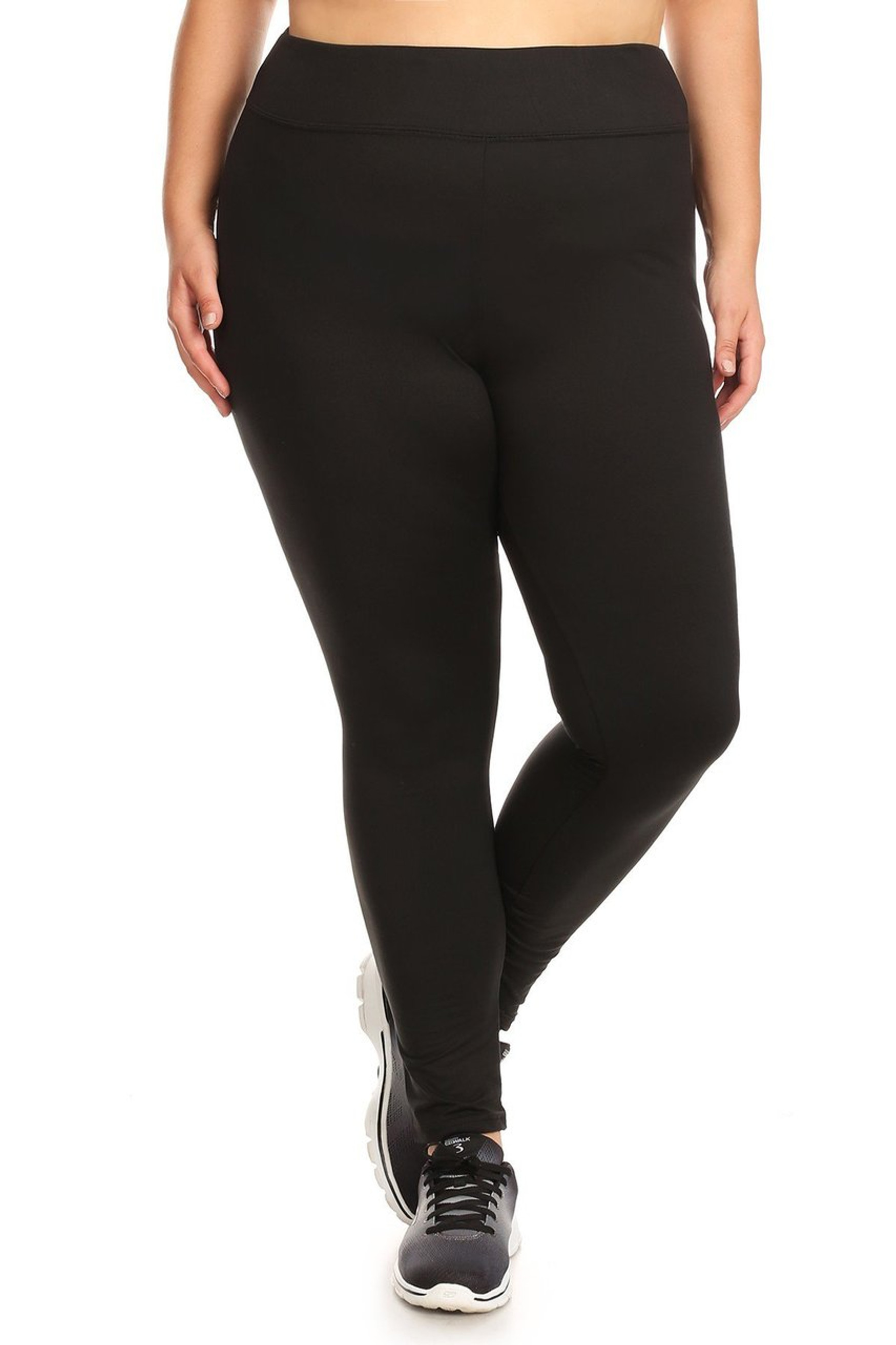 Black front image of X7L105 - High Waisted Fleece Lined Sport Plus Size Leggings