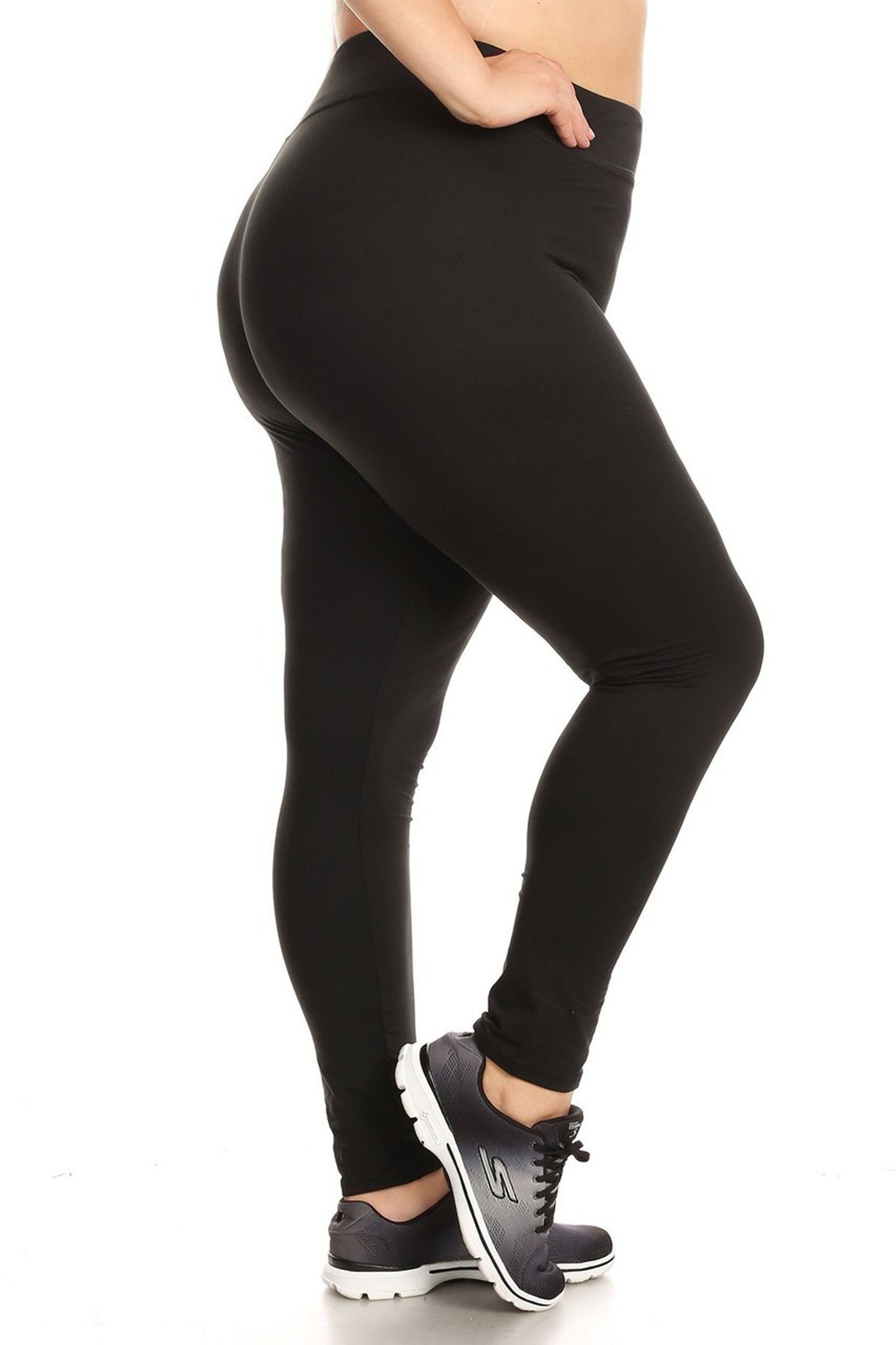 Brushed Right leg show off image of X7L105 - High Waisted Fleece Lined Sport Plus Size Leggings