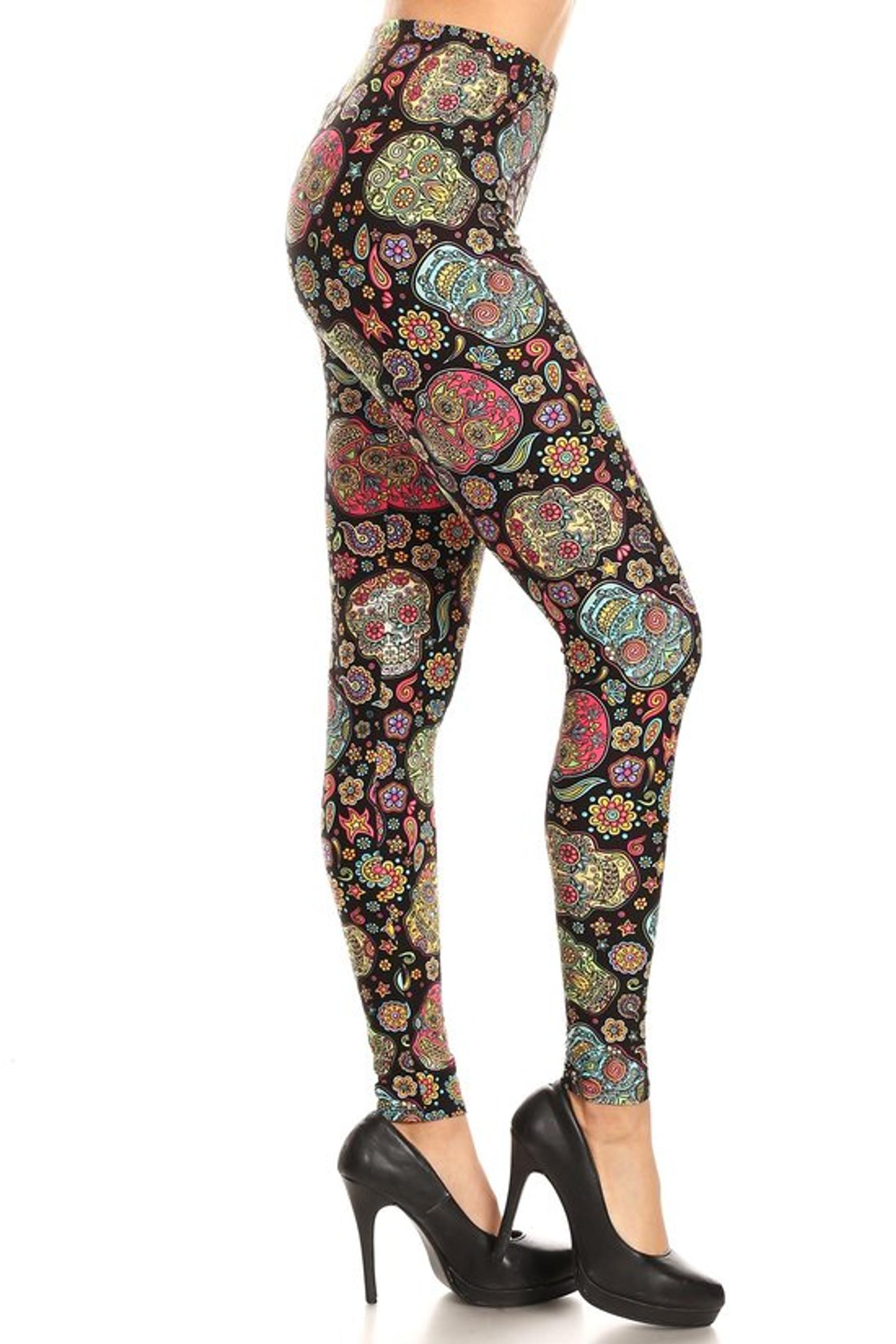 Brushed Mandala Sugar Skull Plus Size Leggings