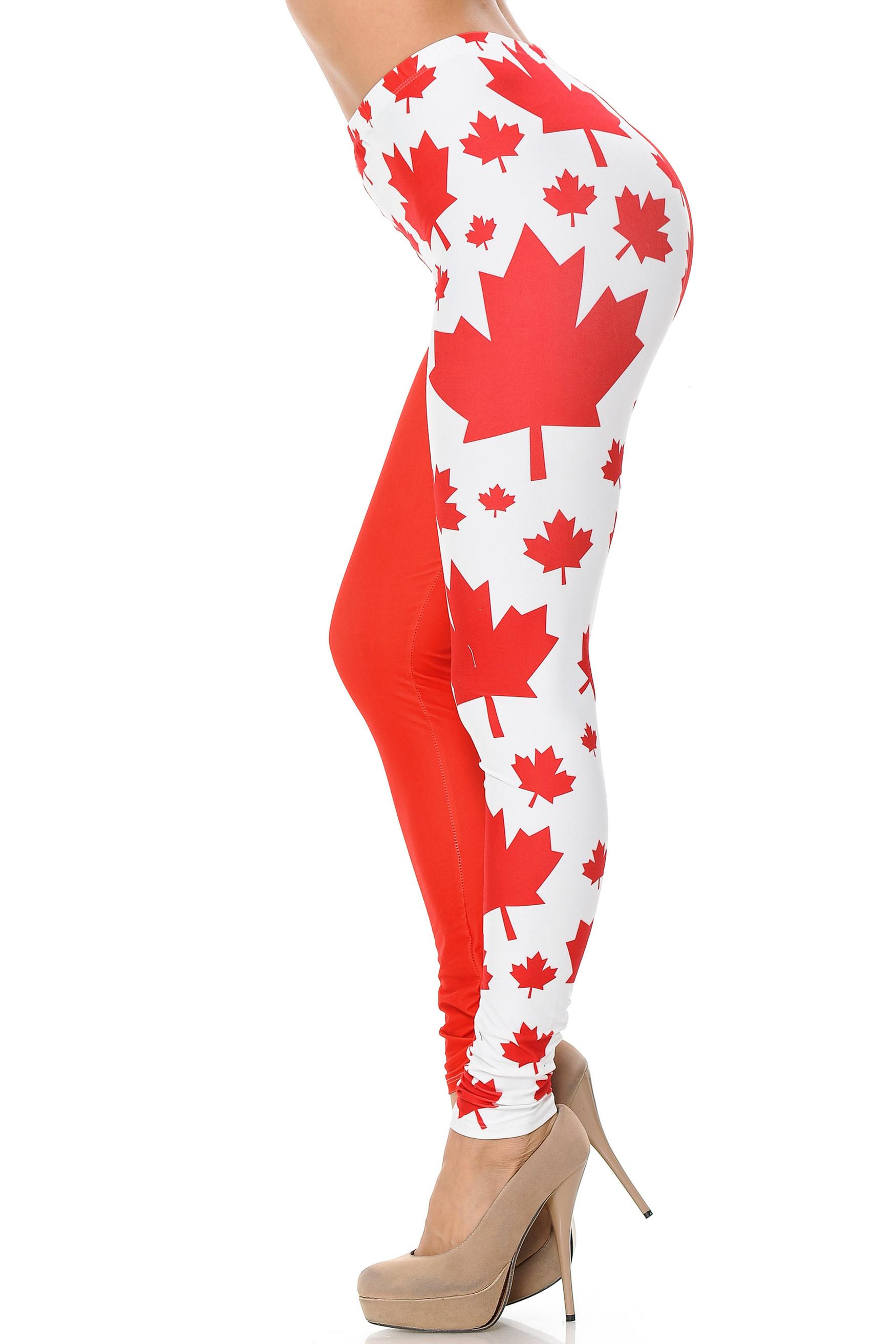 Creamy Soft Canadian Flag Plus Size Leggings