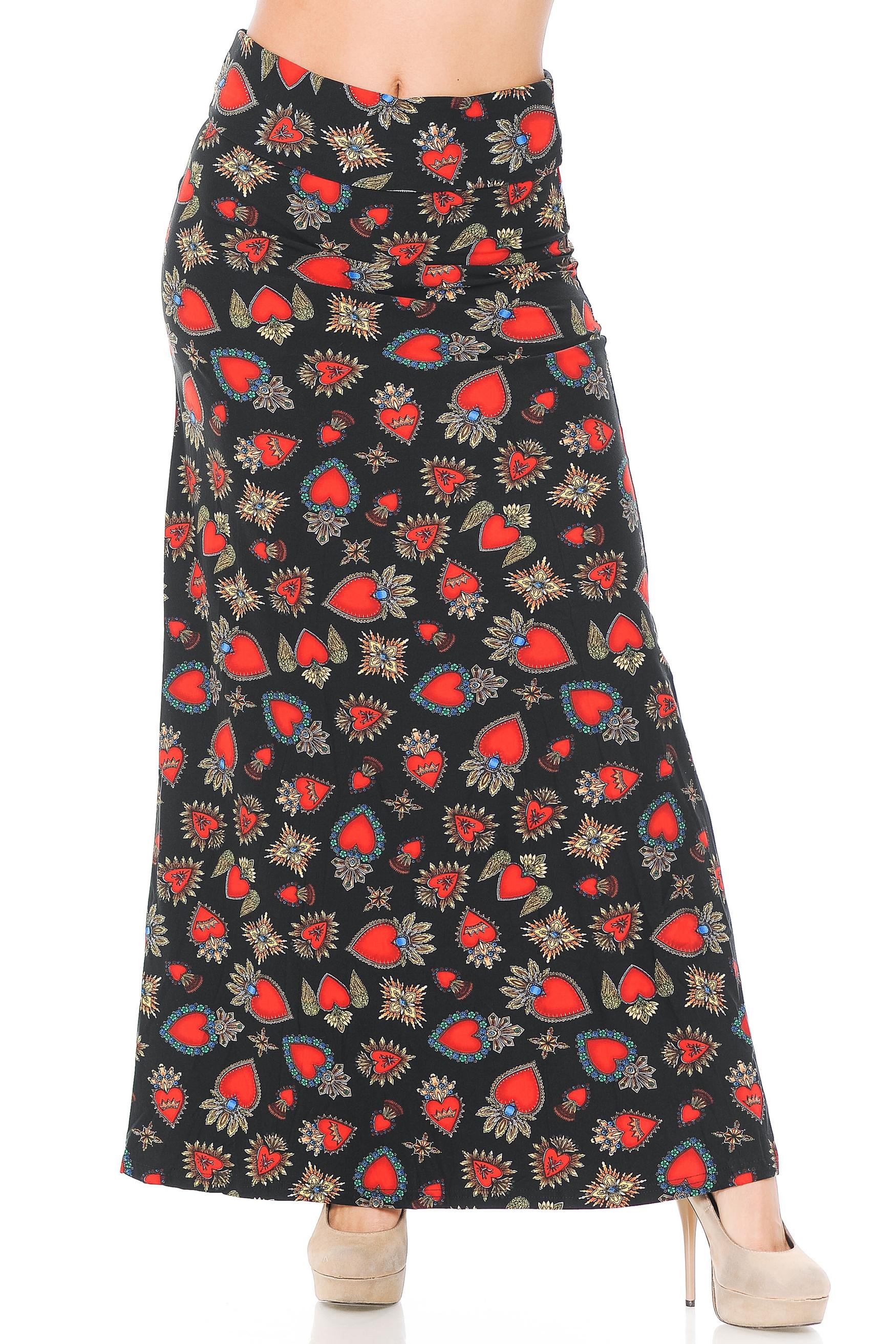 Brushed Jeweled Hearts Maxi Skirt